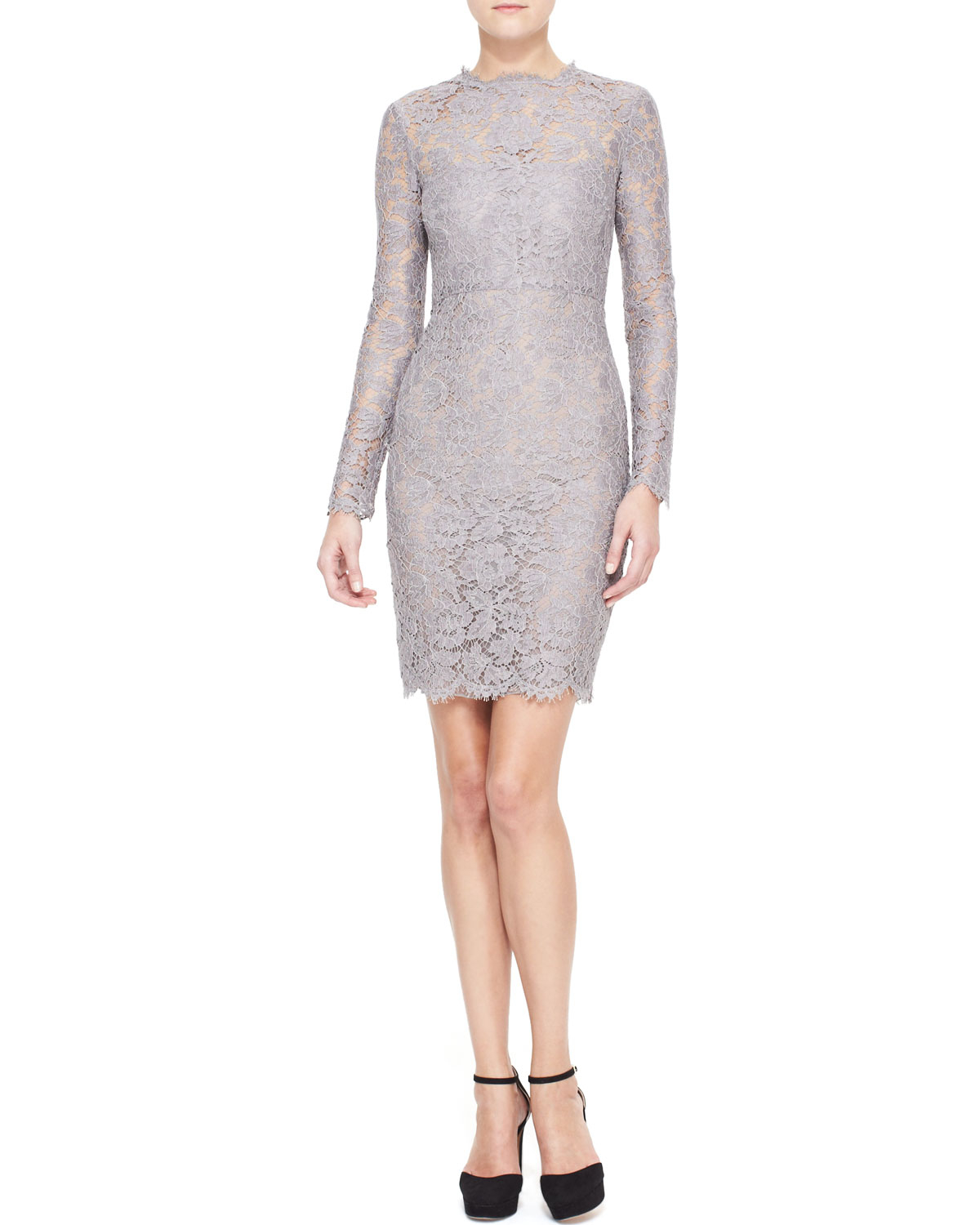 Lace inserts long sleeves dress Valentino Buy Cheap Manchester Cheapest Get Online oVgoDXx