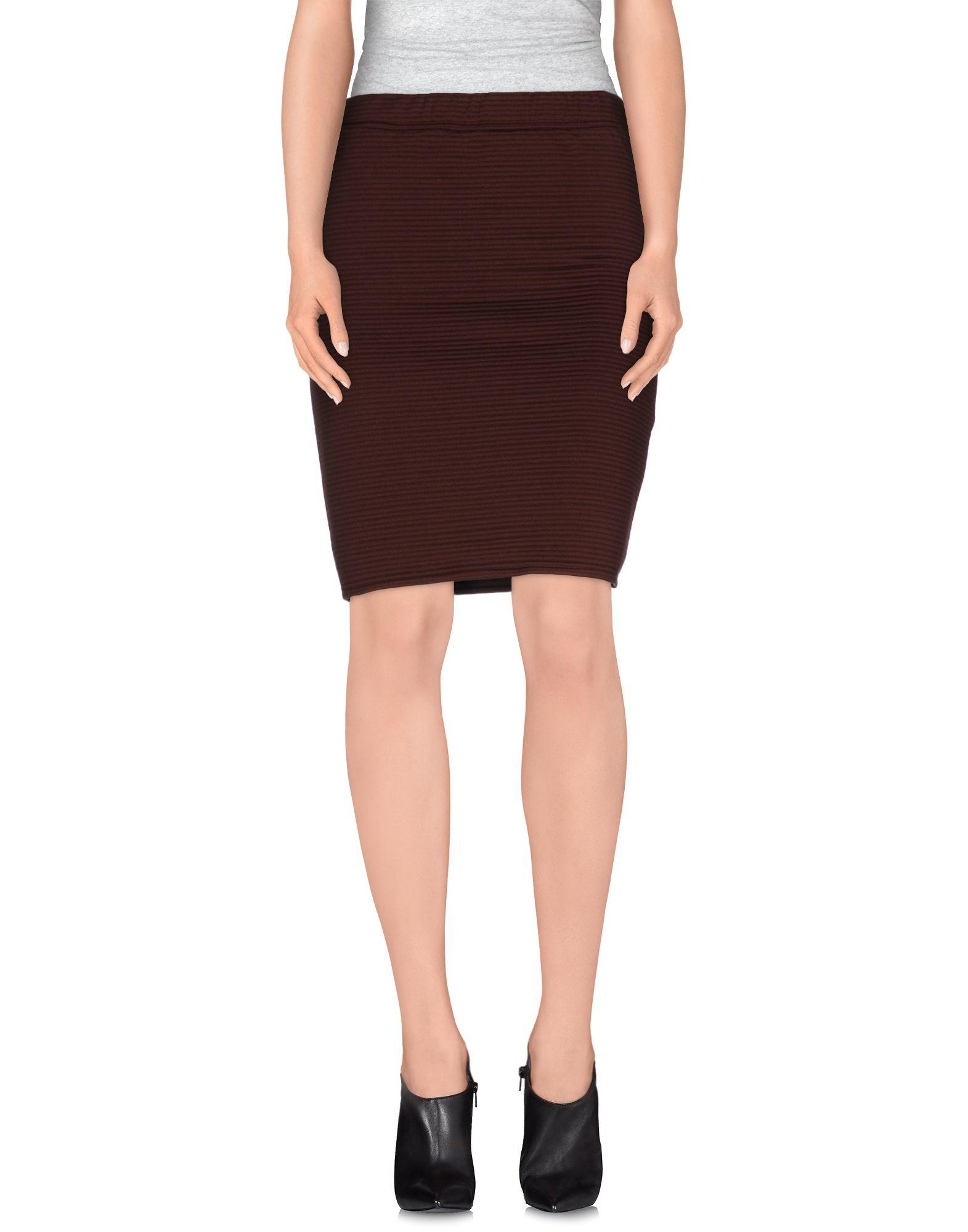 selected knee length skirt in brown lyst