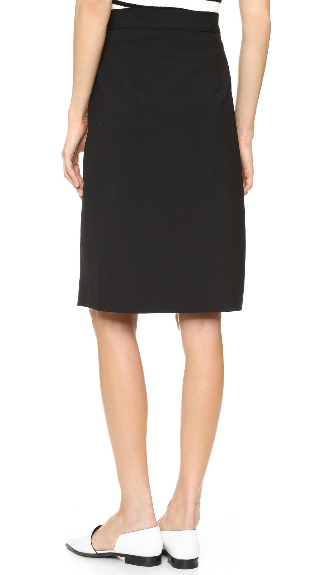 dkny asymmetrical pencil skirt in black lyst