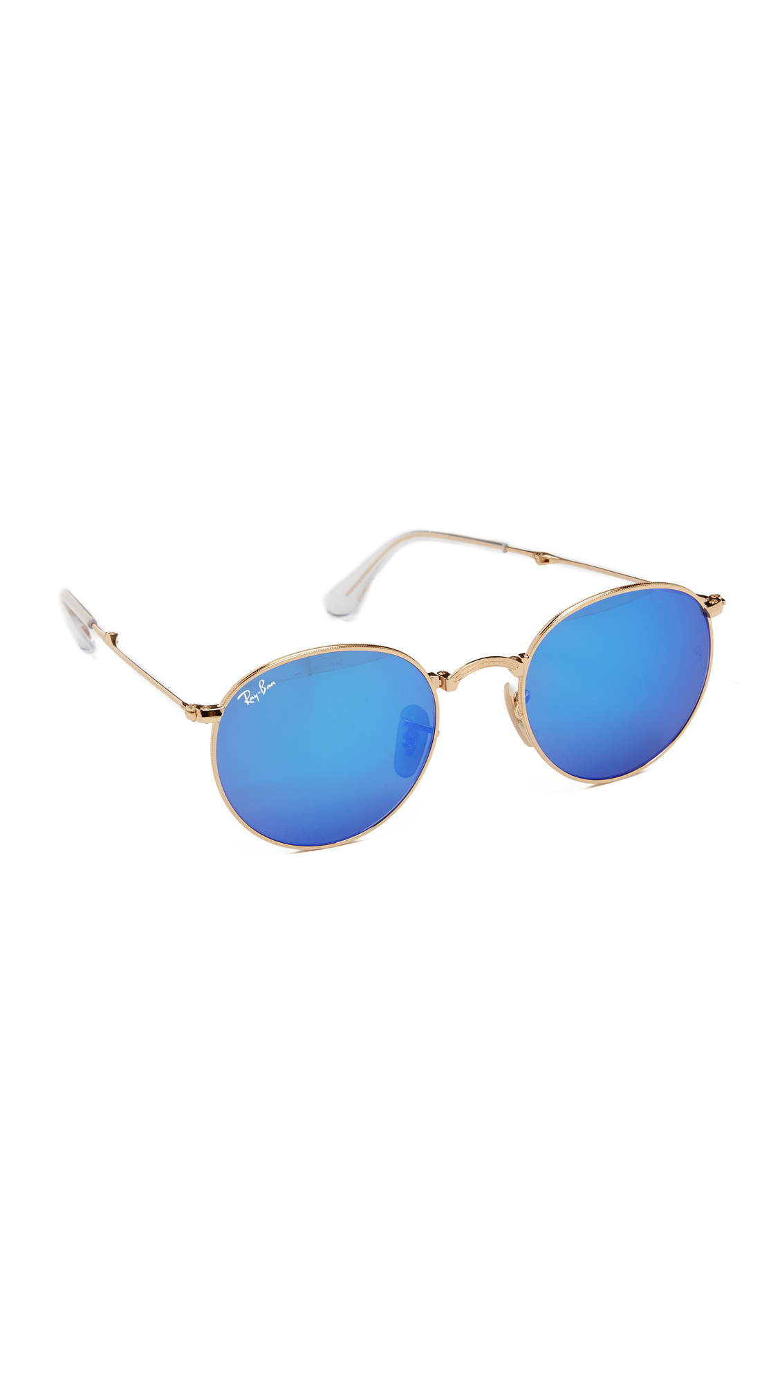 dc533fbdbf Lyst - Ray-Ban Icons Mirrored Round Sunglasses in Metallic