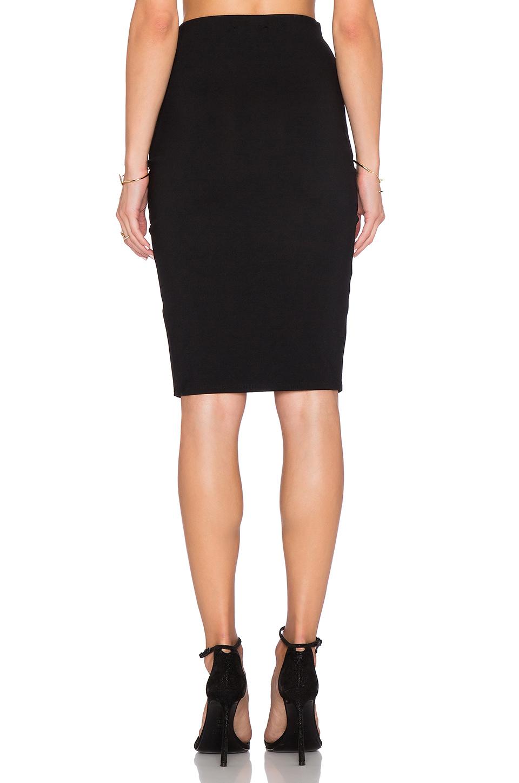 donna mizani front slit midi skirt in black lyst