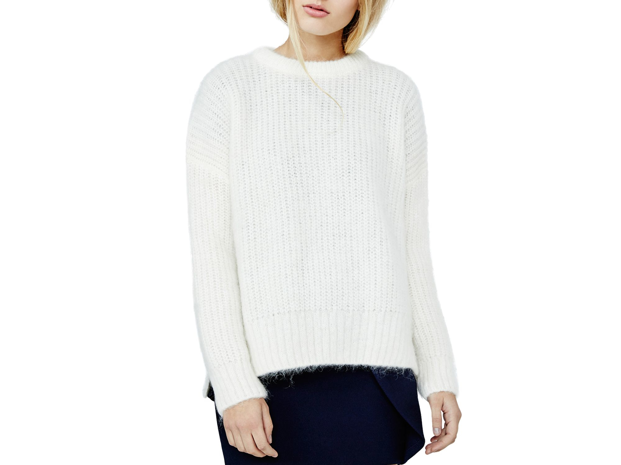Maje Mario Chunky Ribbed Sweater in White | Lyst