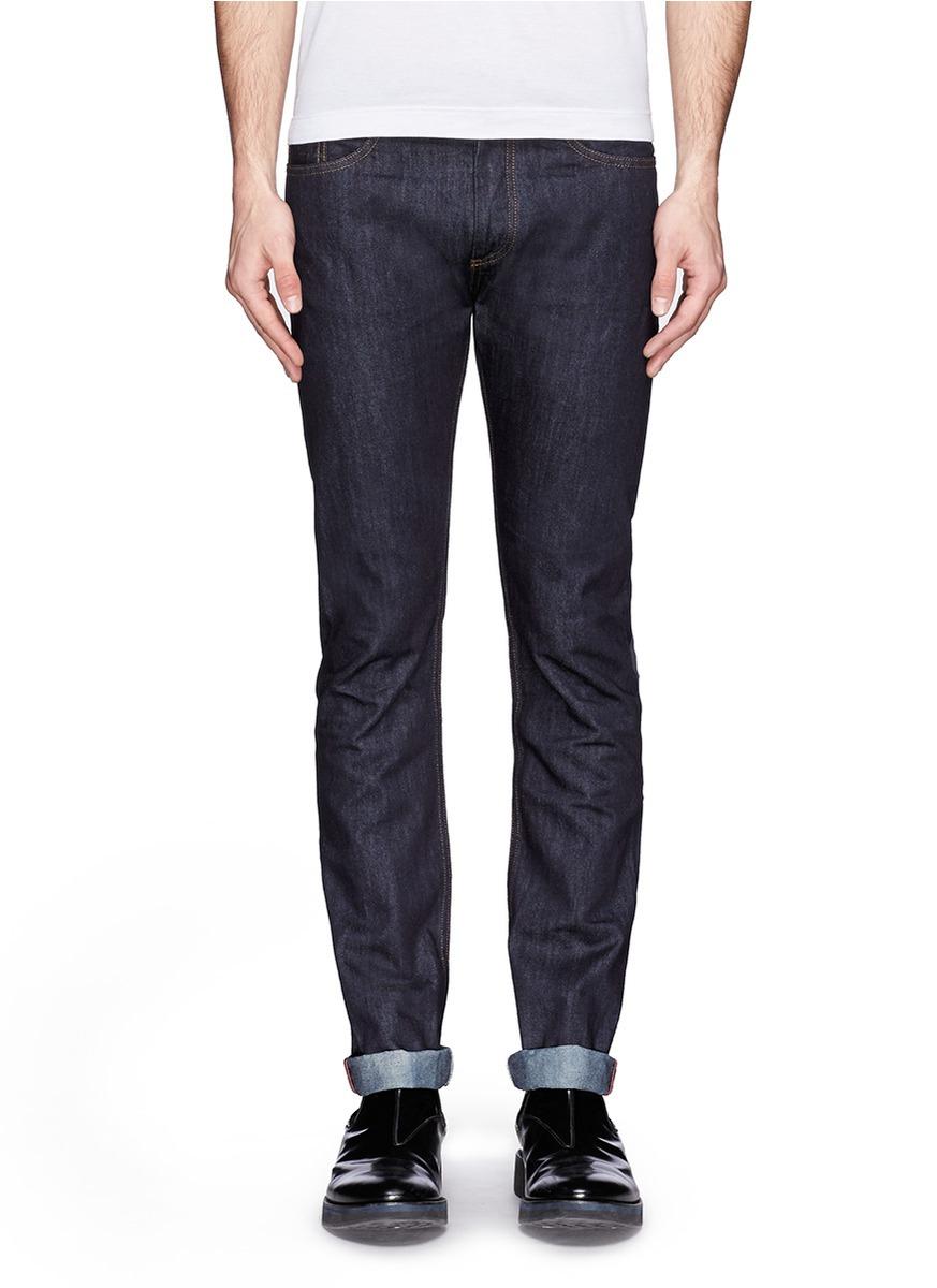 valentino unwashed slim fit jeans in blue for men lyst. Black Bedroom Furniture Sets. Home Design Ideas