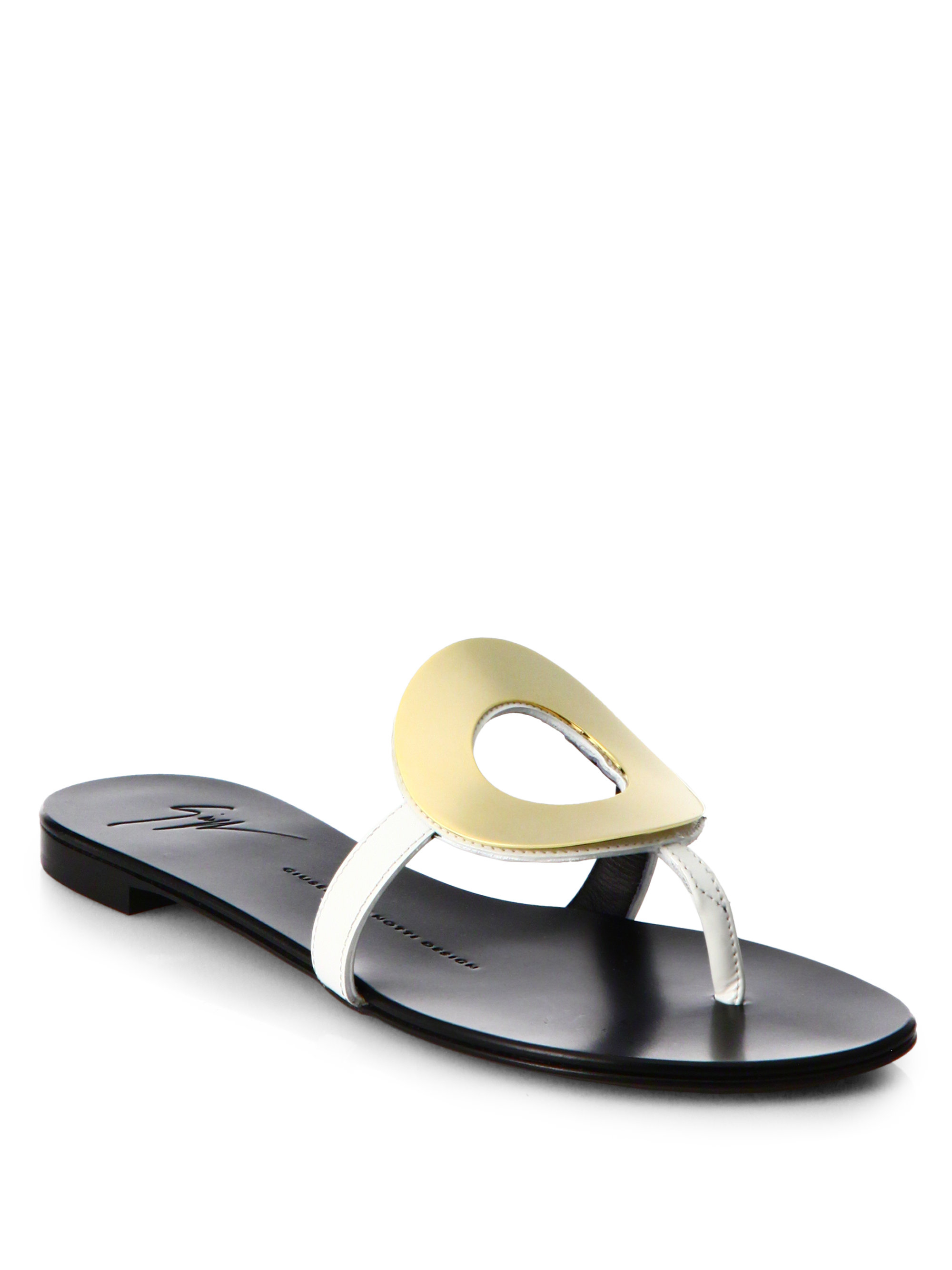 Lyst - Giuseppe Zanotti Gold-Ring Patent Leather Flip -6834