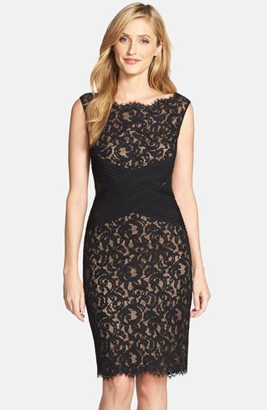 Tadashi shoji Crisscross Waist Lace Sheath Dress in Black ...