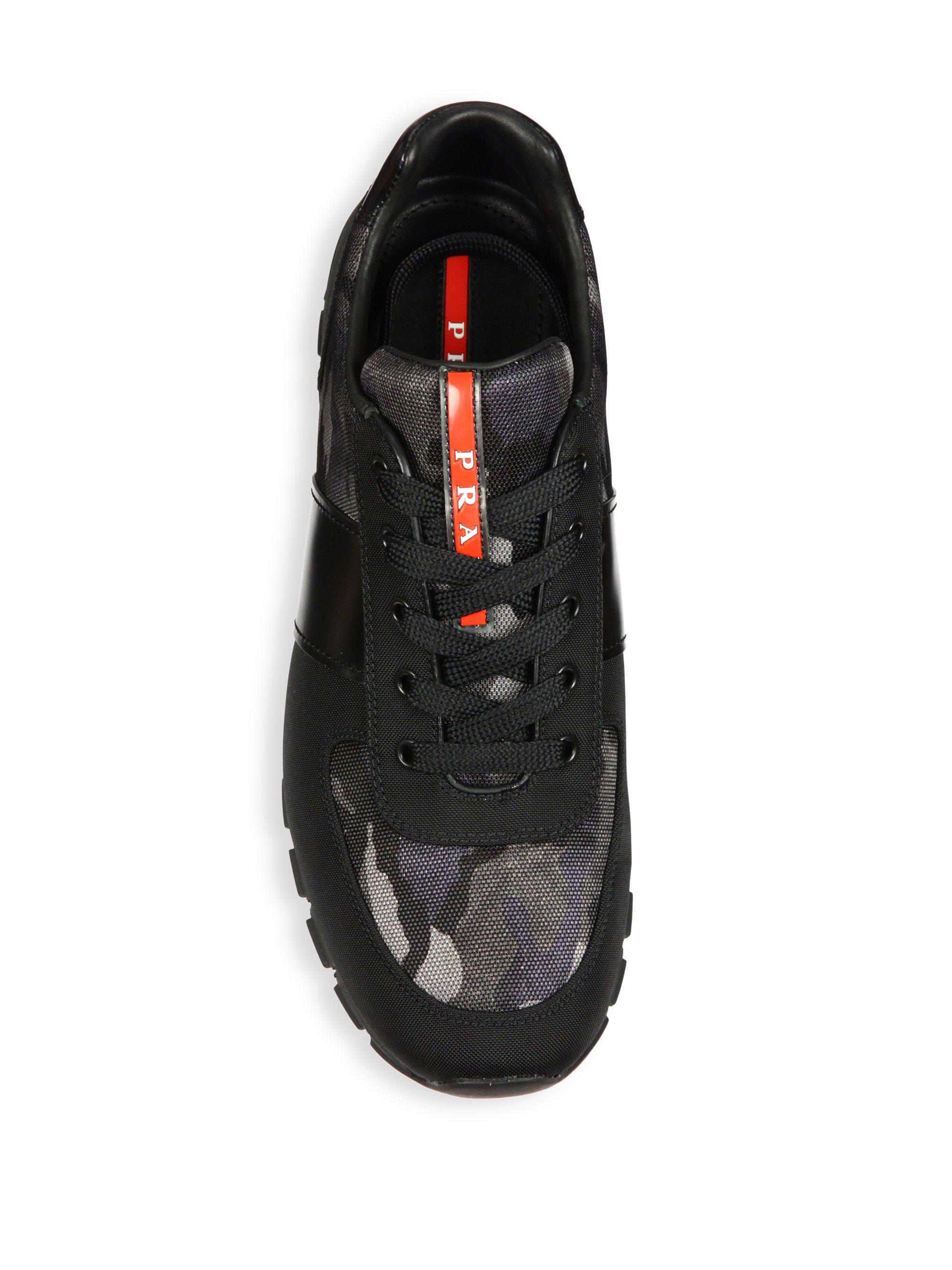Lyst Prada Match Leather Amp Nylon Racing Sneakers In