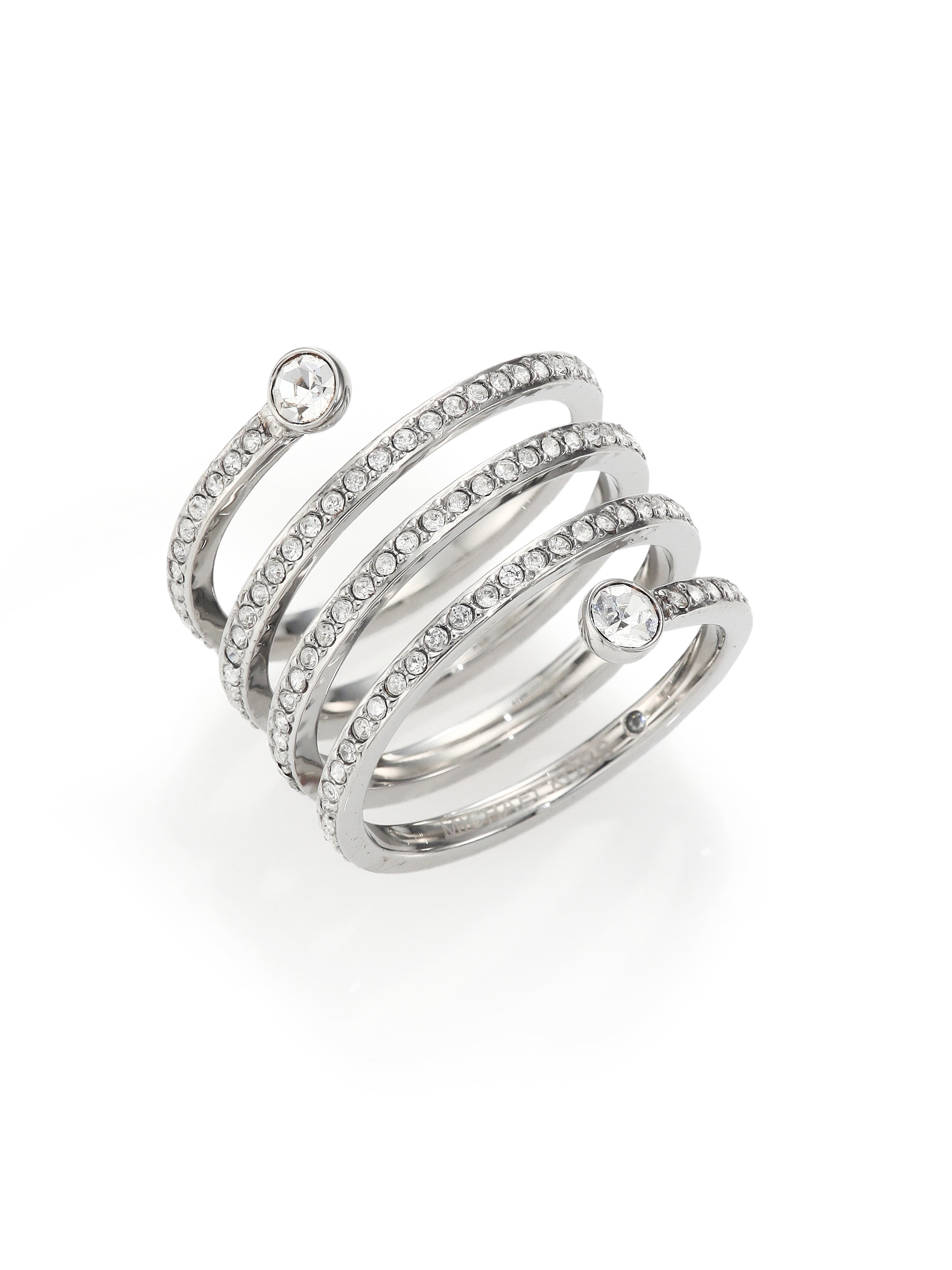 7f2cf26de5fd Lyst - Michael Kors Park Avenue Glam Pave Spiral Ring silvertone in ...