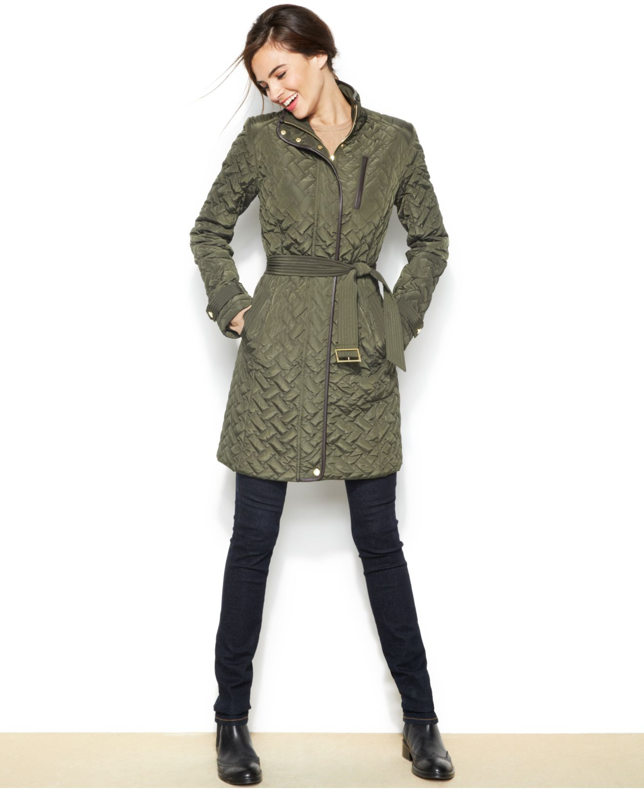 Cole haan Belted Quilted Jacket in Green | Lyst : quilted belted coat - Adamdwight.com