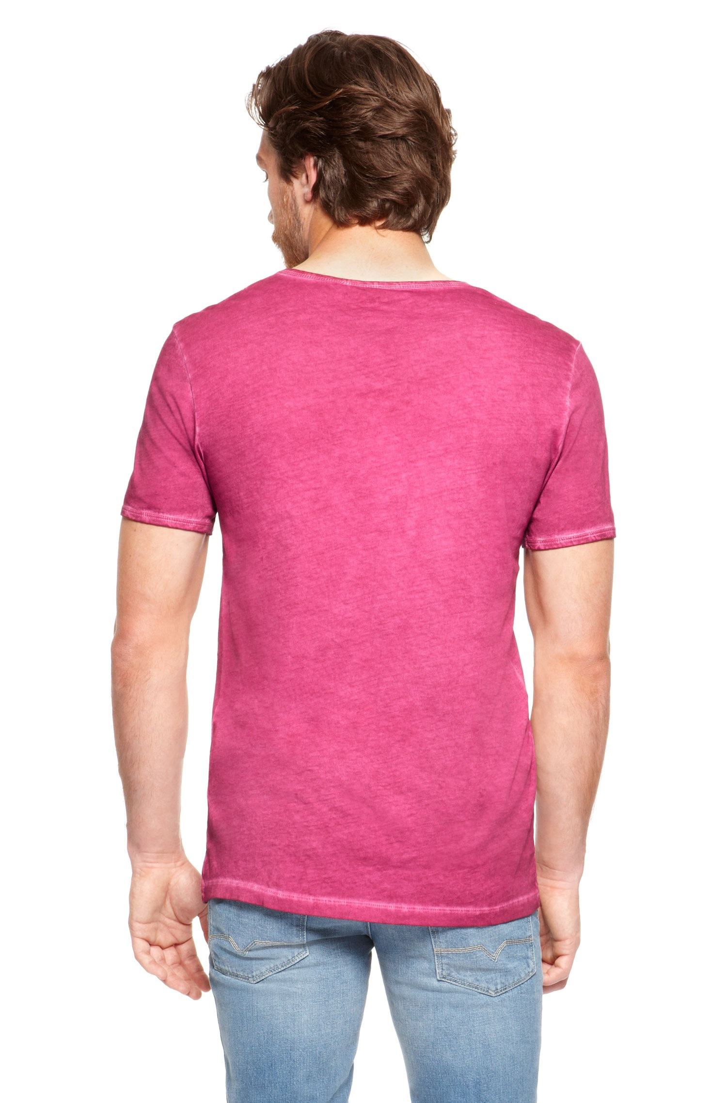 Boss Orange Toulouse Cotton Garment Dyed V Neck T Shirt In