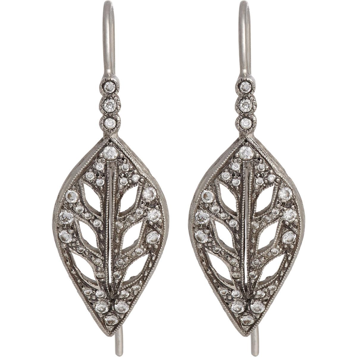 cathy waterman leaf drop earrings size os in metallic lyst