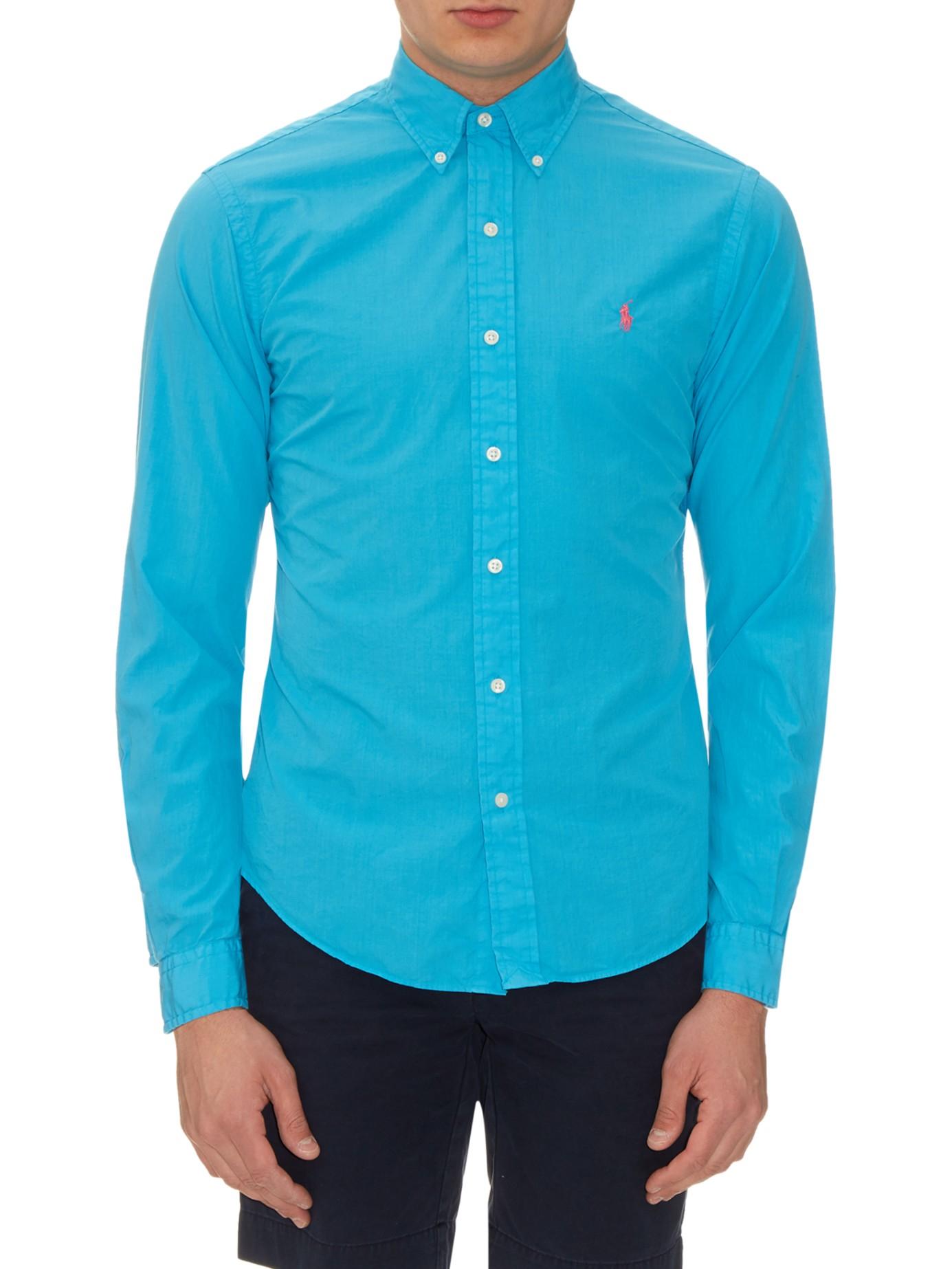 Lyst polo ralph lauren button cuff cotton and silk blend for Men s batik bay silk blend button down shirt