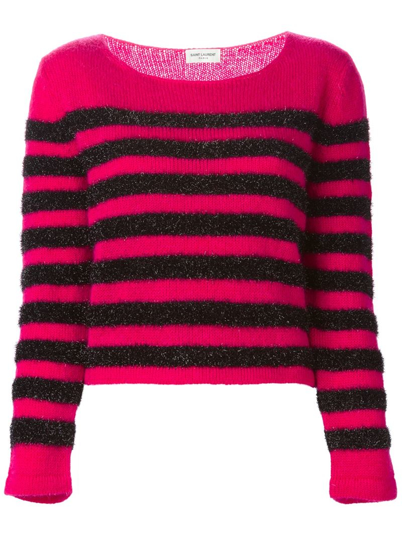 Saint laurent Striped Sweater in Pink | Lyst