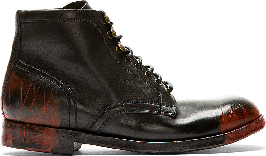 Dolce & gabbana Black And Red Smudges And Distressed Combat Boots ...