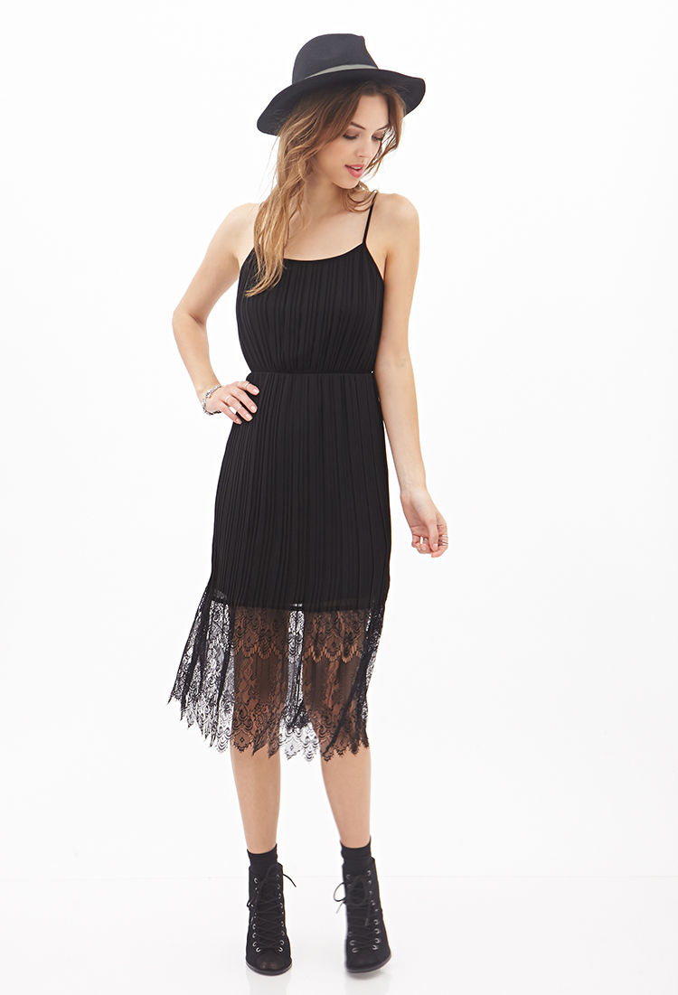 lyst forever 21 pleated lace cami dress in black