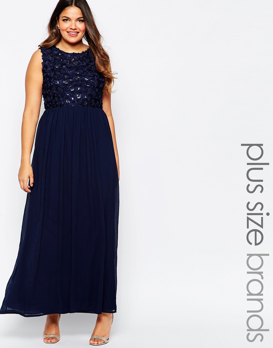 Club L Plus Size Maxi Dress With 3d Floral Sequin Top in Blue - Lyst