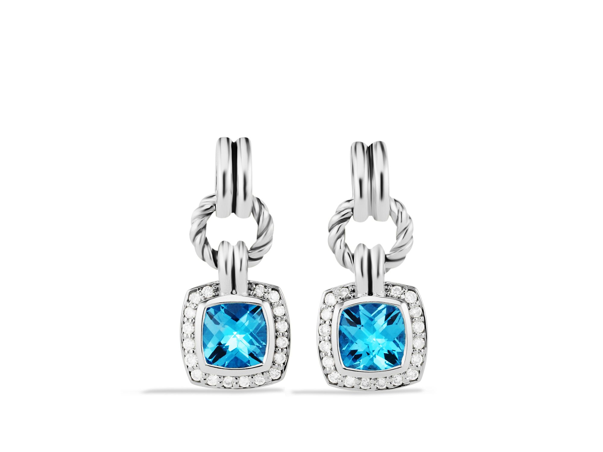 David yurman Renaissance Drop Earrings With Blue Topaz & Diamonds