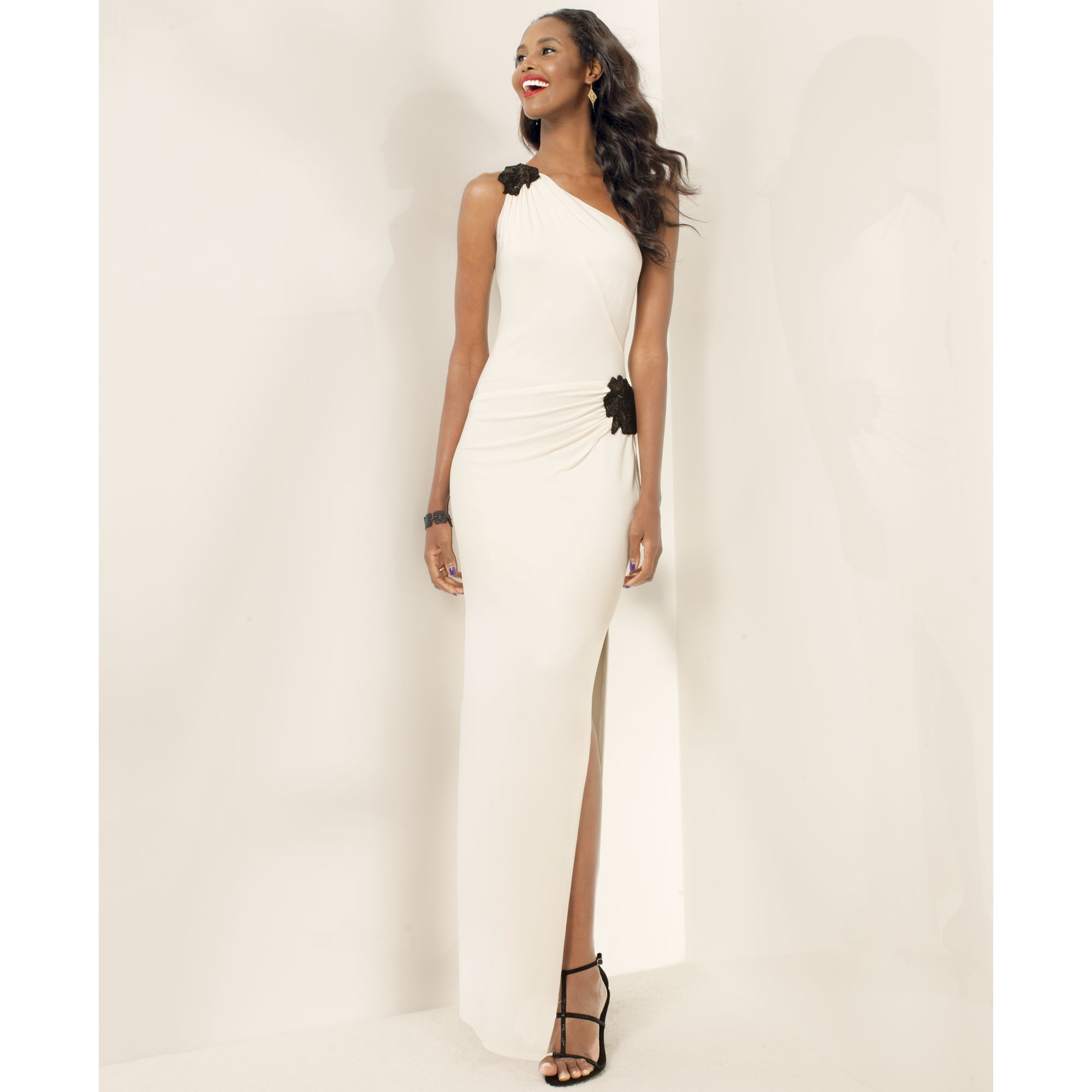 Lyst - Lauren By Ralph Lauren Beaded One Shoulder Gown in White