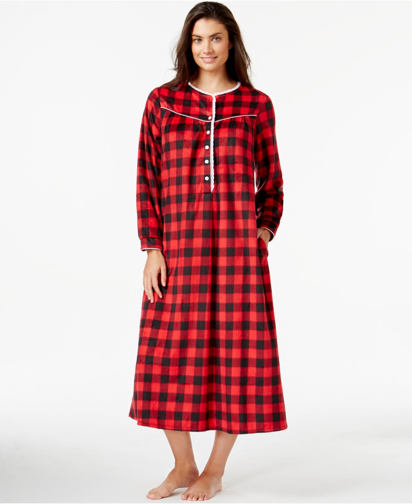 Lanz of salzburg long fleece nightgown in red lyst for Cotton polyester flannel shirts