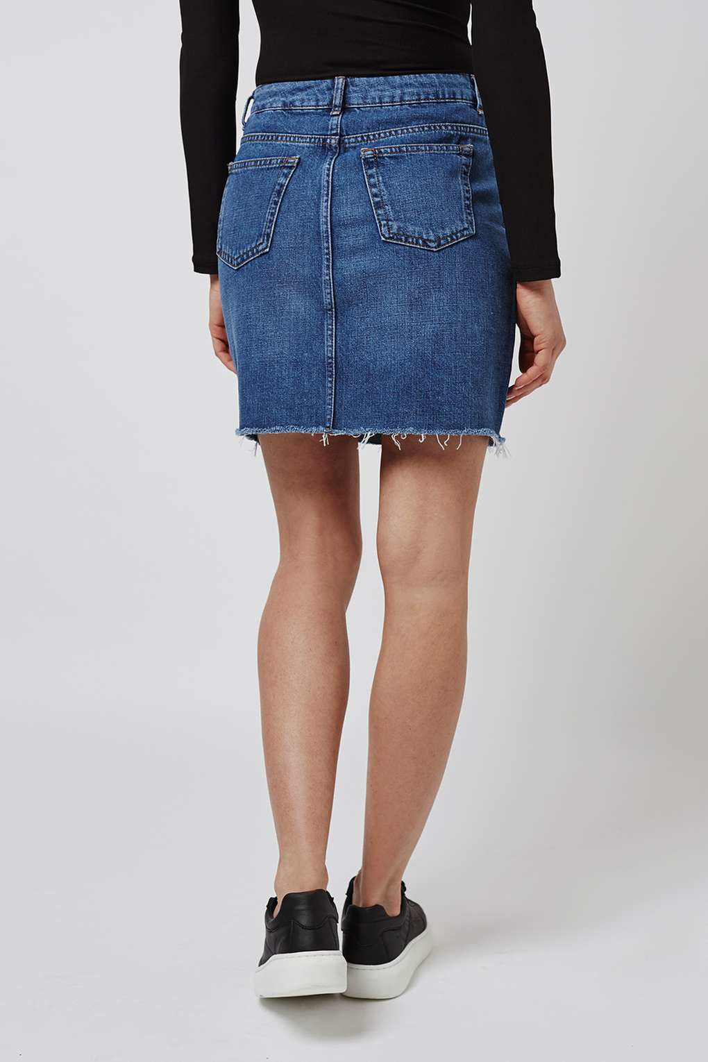 topshop moto high waisted skirt in blue lyst