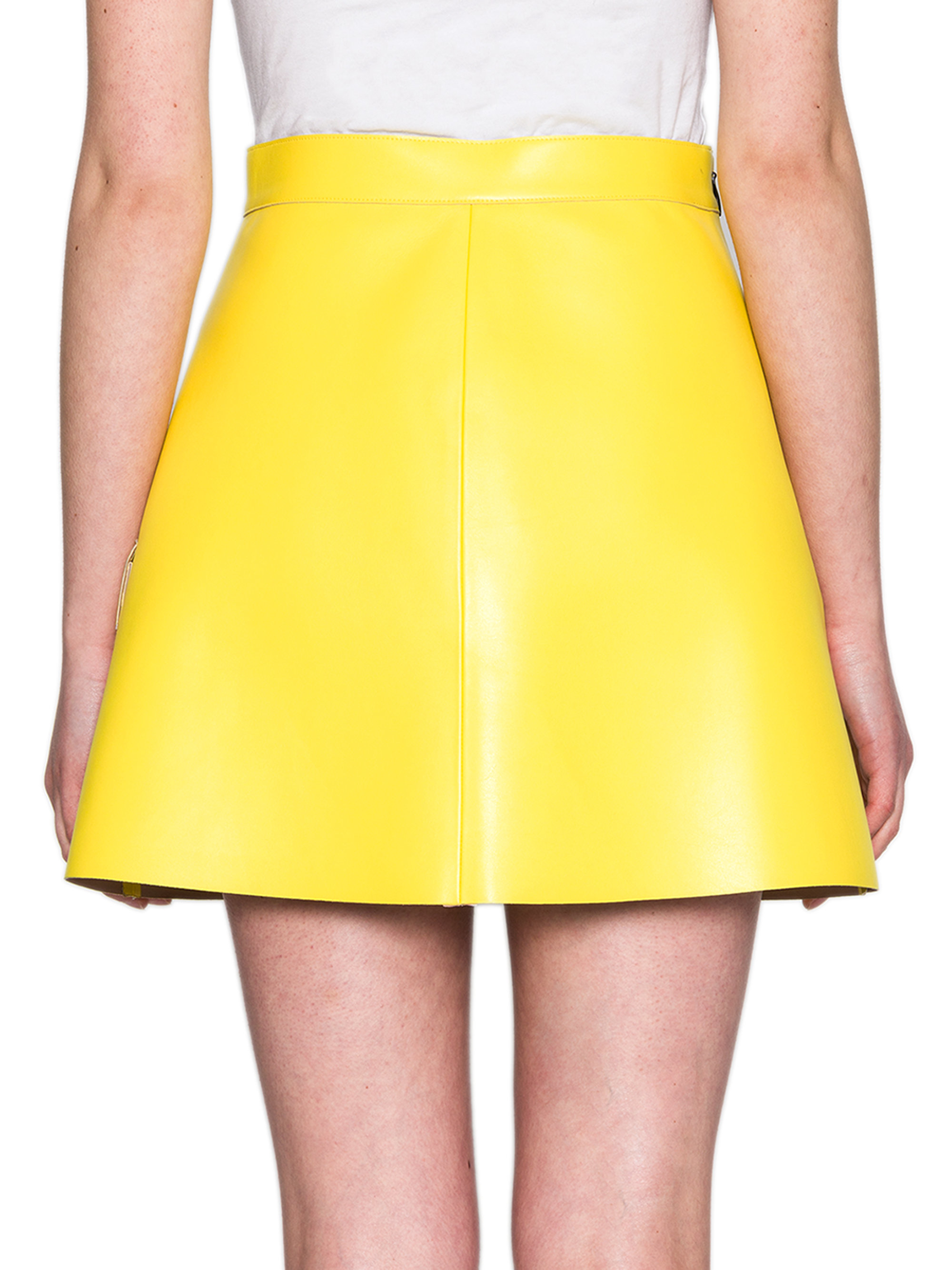 msgm faux leather a line mini skirt in yellow lyst