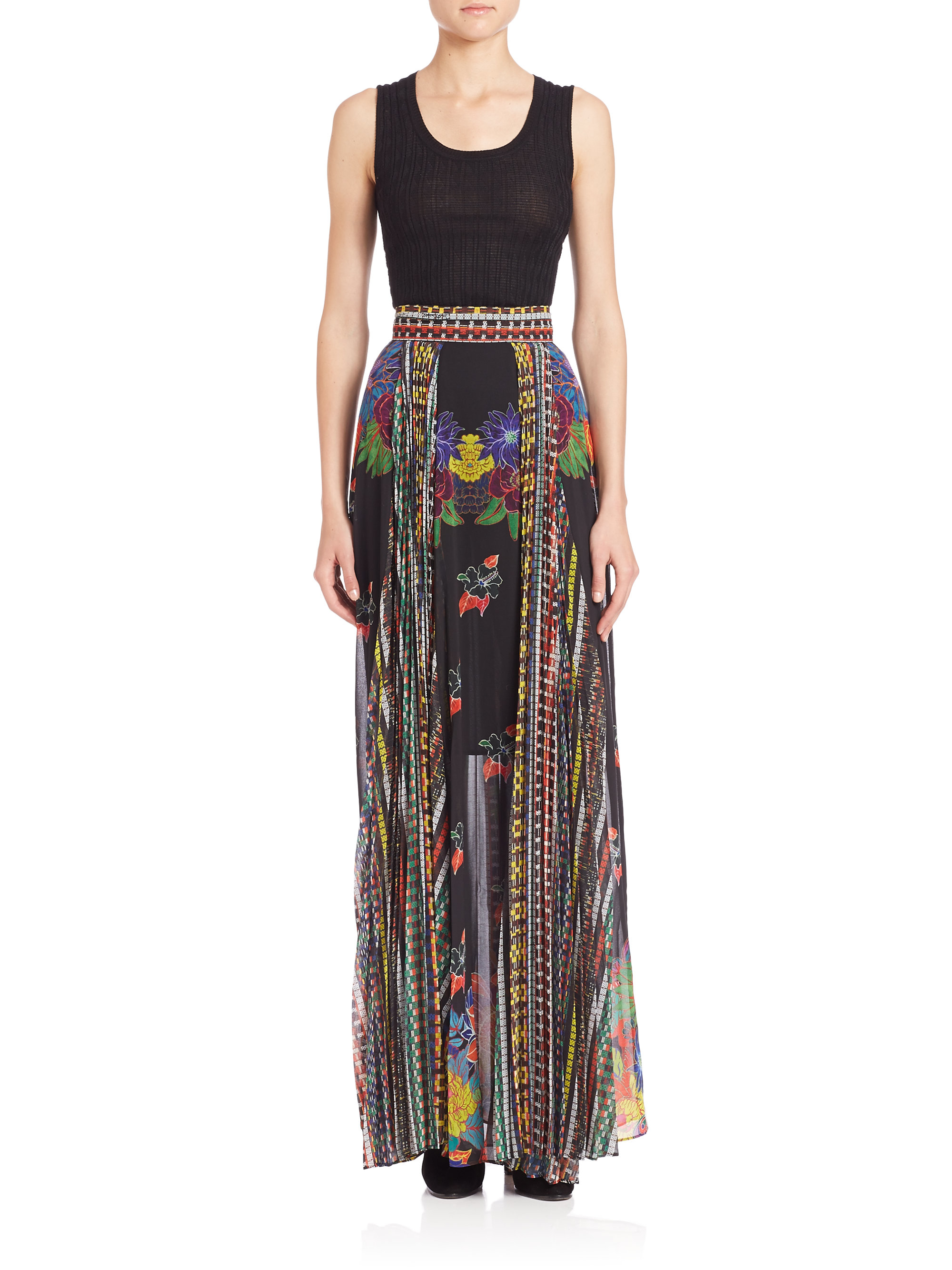 just cavalli mexican couture maxi skirt lyst