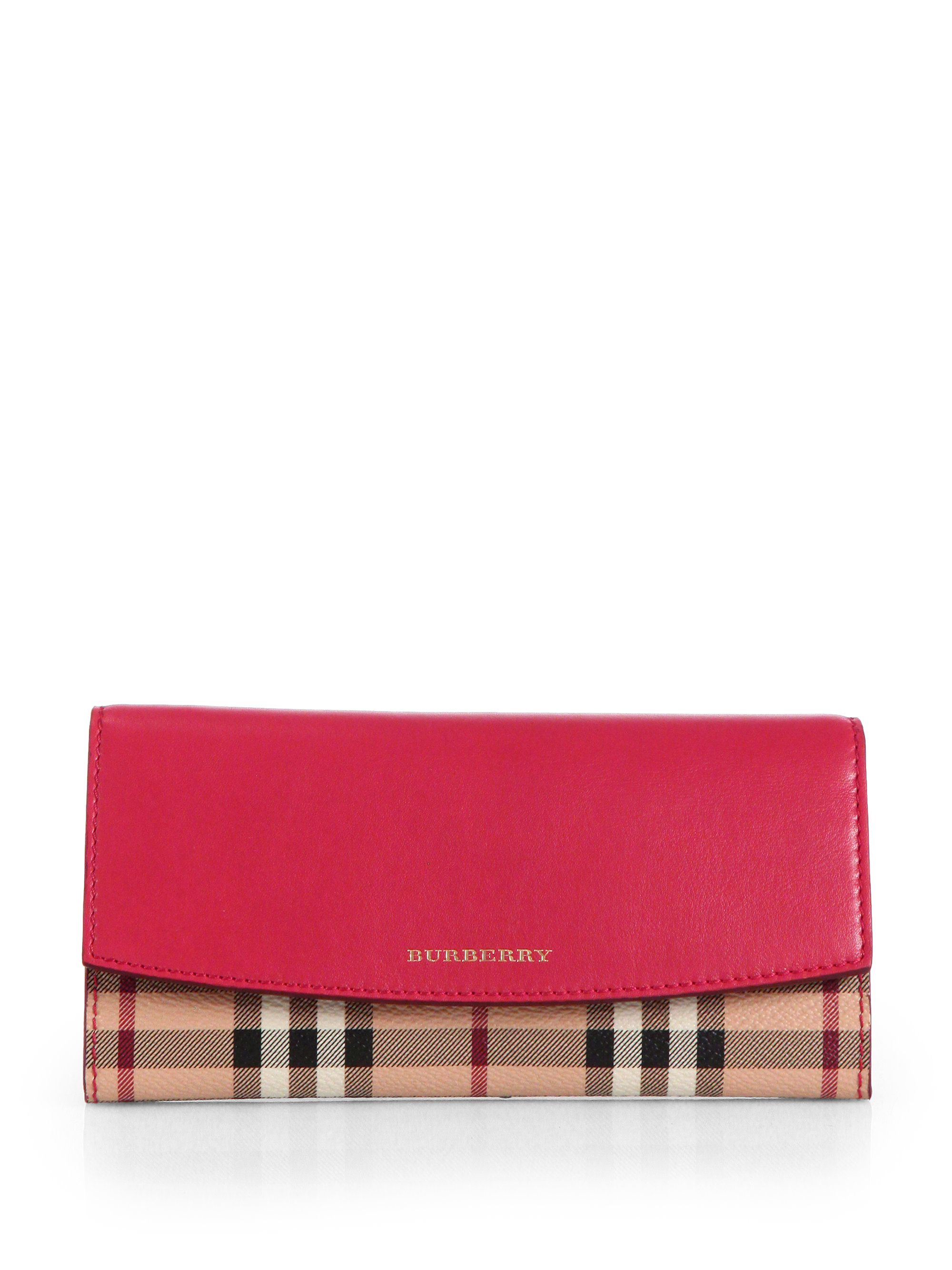 lyst burberry porter foldover wallet in pink