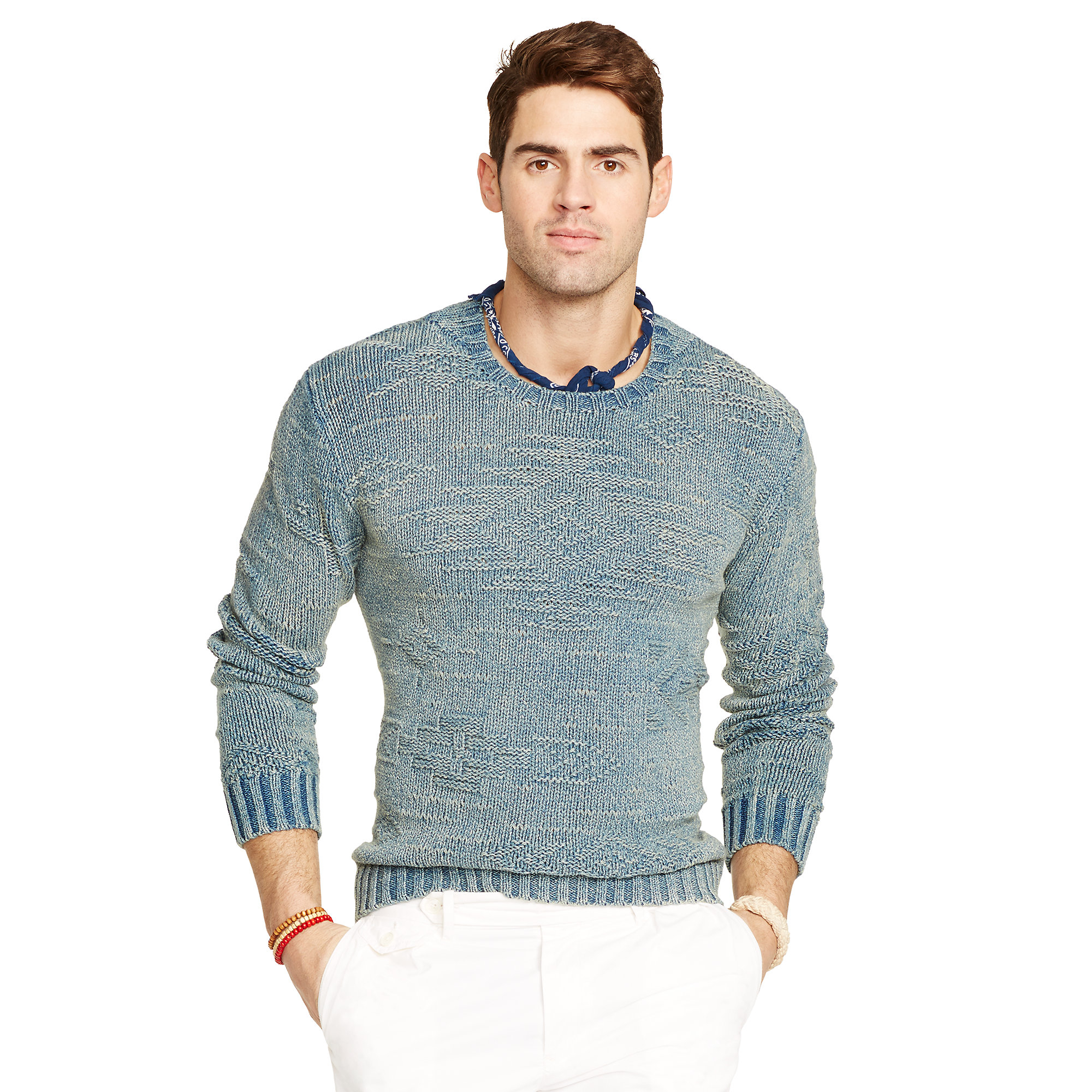 Polo ralph lauren Indigo-dyed Cotton Sweater in Blue for Men | Lyst