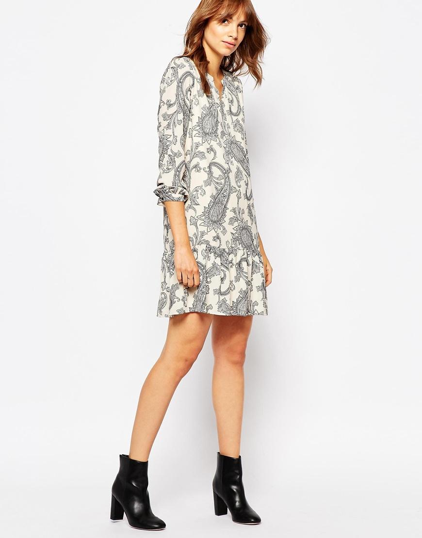 vero moda paisley print drop waist dress in gray lyst. Black Bedroom Furniture Sets. Home Design Ideas