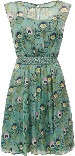 Almost Famous Peacock Chiffon Dress In Green Lyst