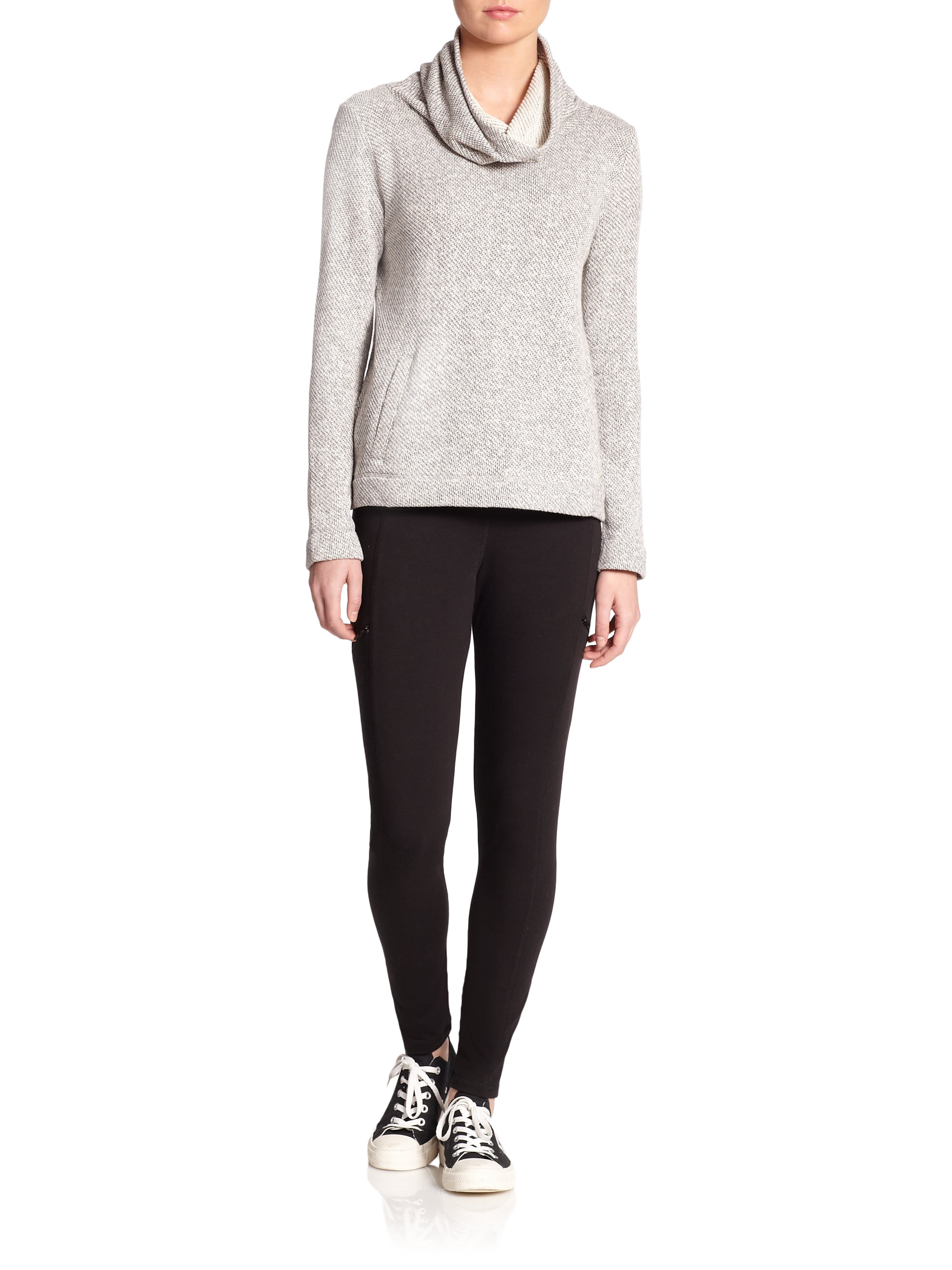 Eileen fisher Cotton Terry Cowlneck Sweater in Gray | Lyst