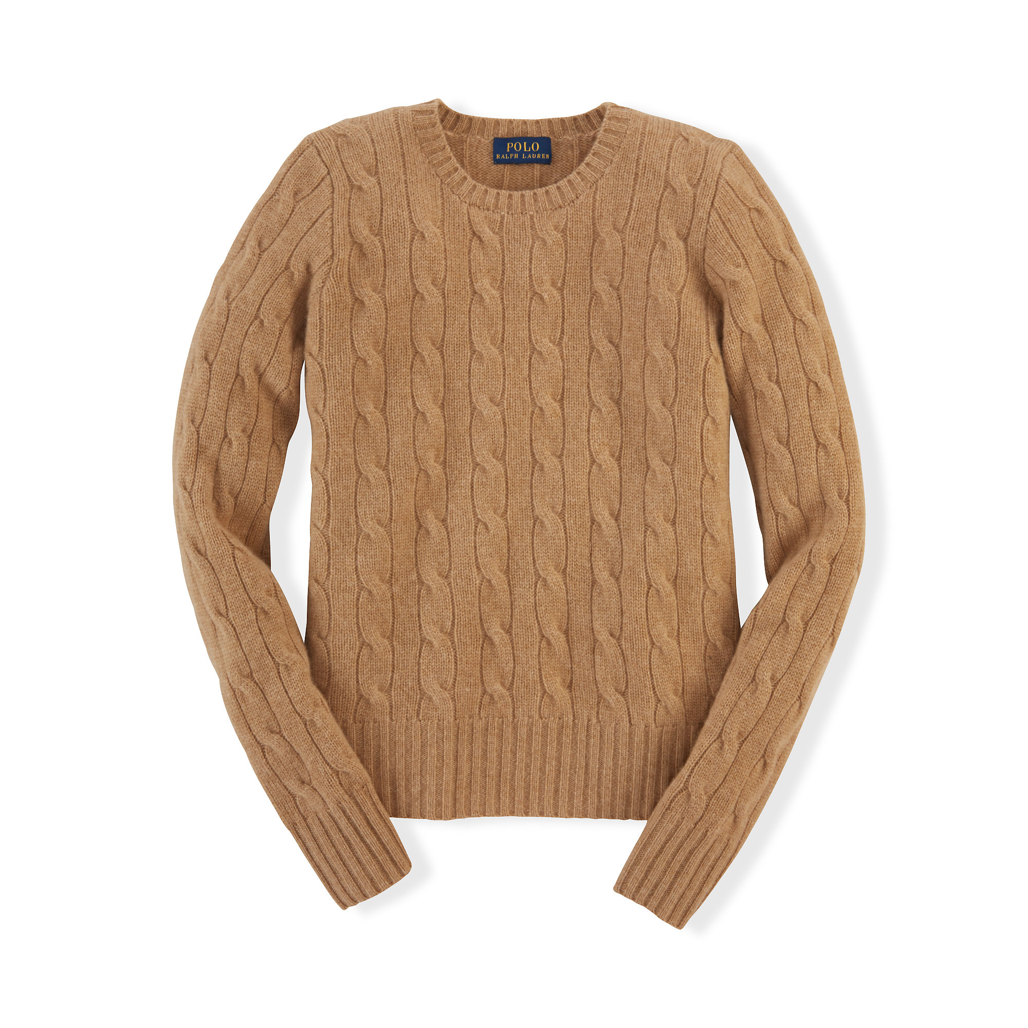 Lyst Ralph Lauren Cable Knit Cashmere Sweater In Brown