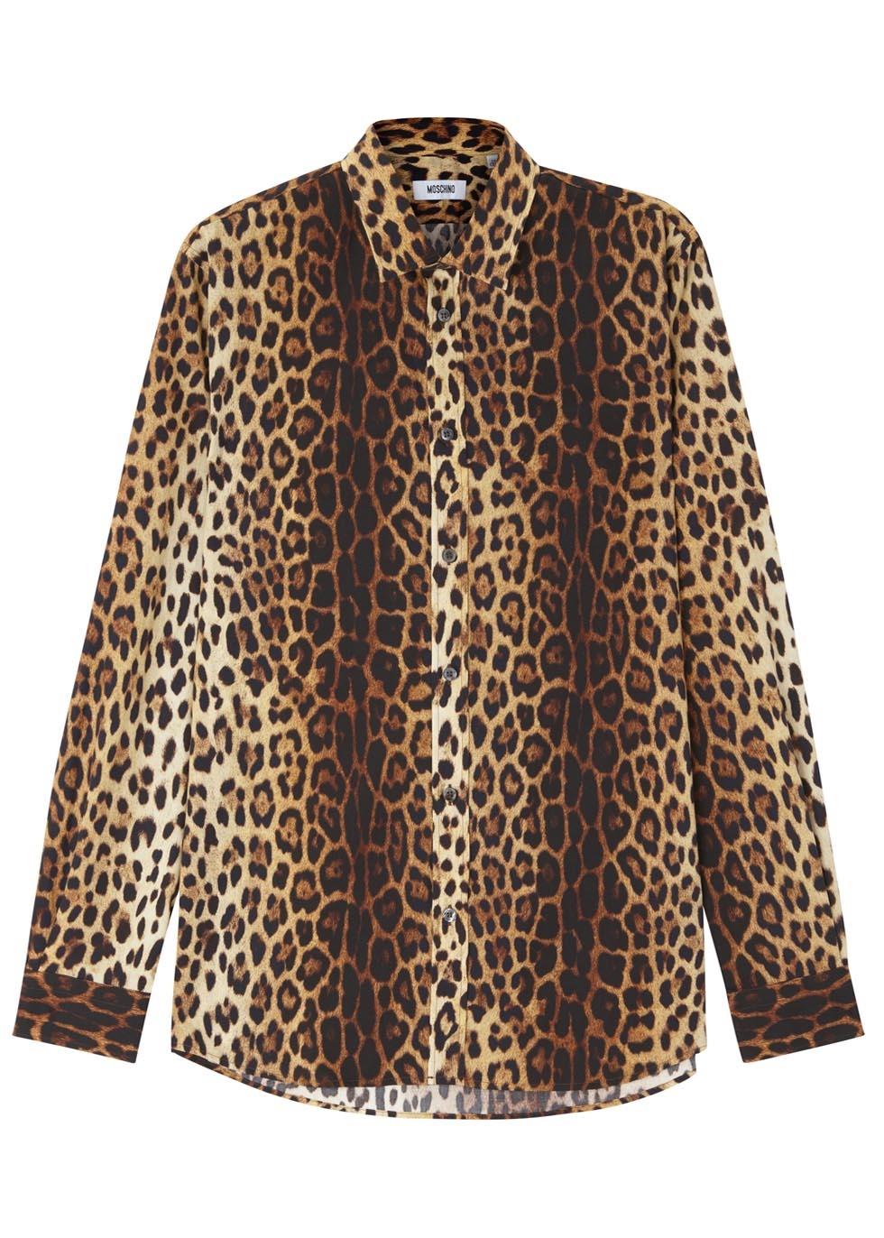 bcff4356a03151 Moschino Leopard Print Cotton Shirt for Men - Lyst