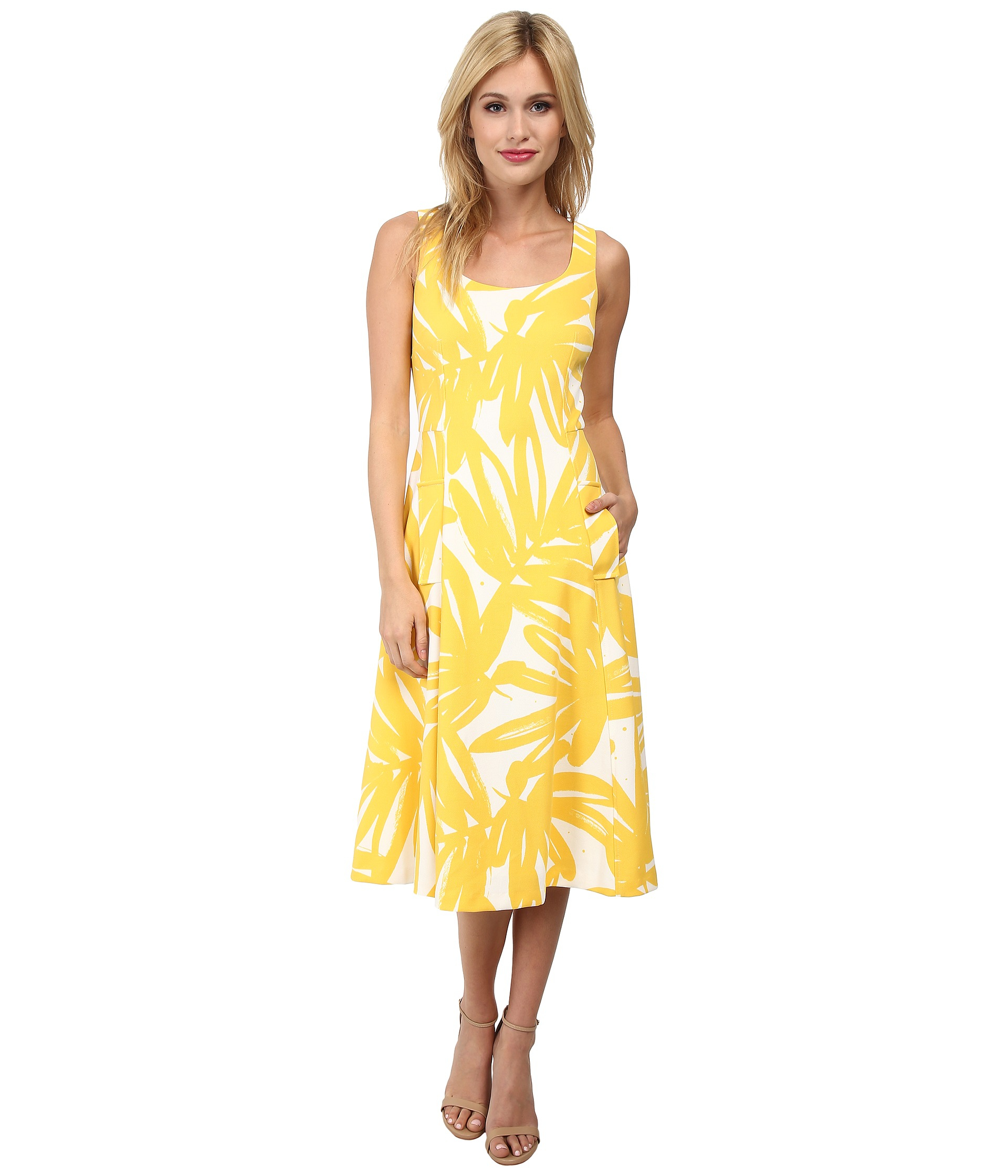 Lyst donna morgan pique knit sleeveless scoop midi dress in yellow gallery ombrellifo Choice Image