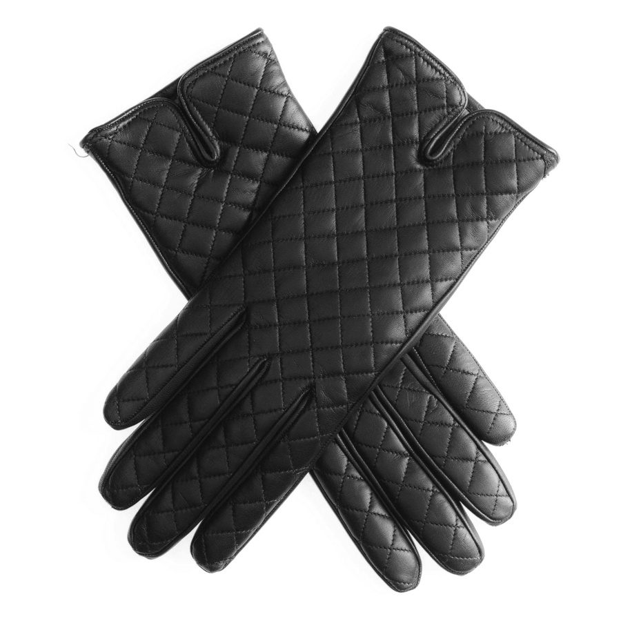Black leather quilted gloves with cashmere lining -