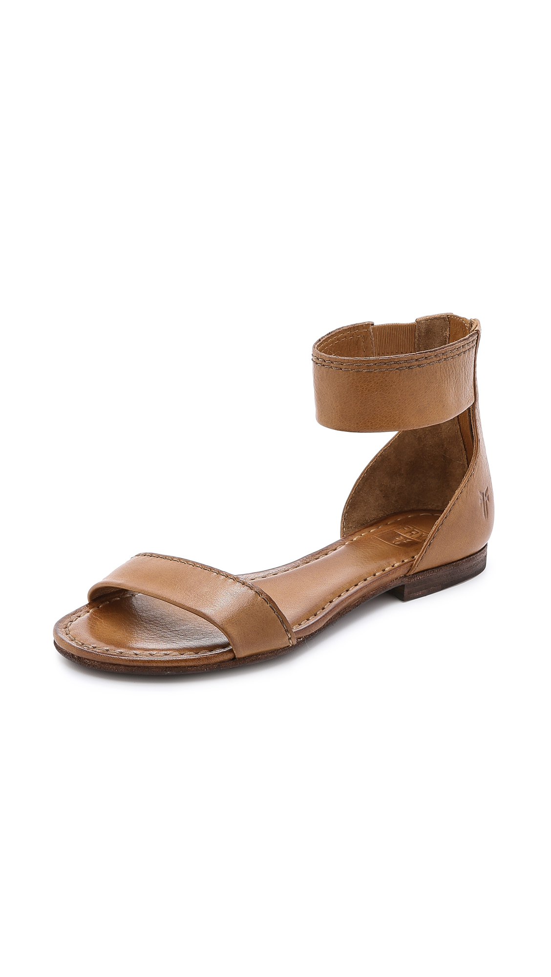 Lyst Frye Carson Ankle Zip Flat Sandals Camel In Natural