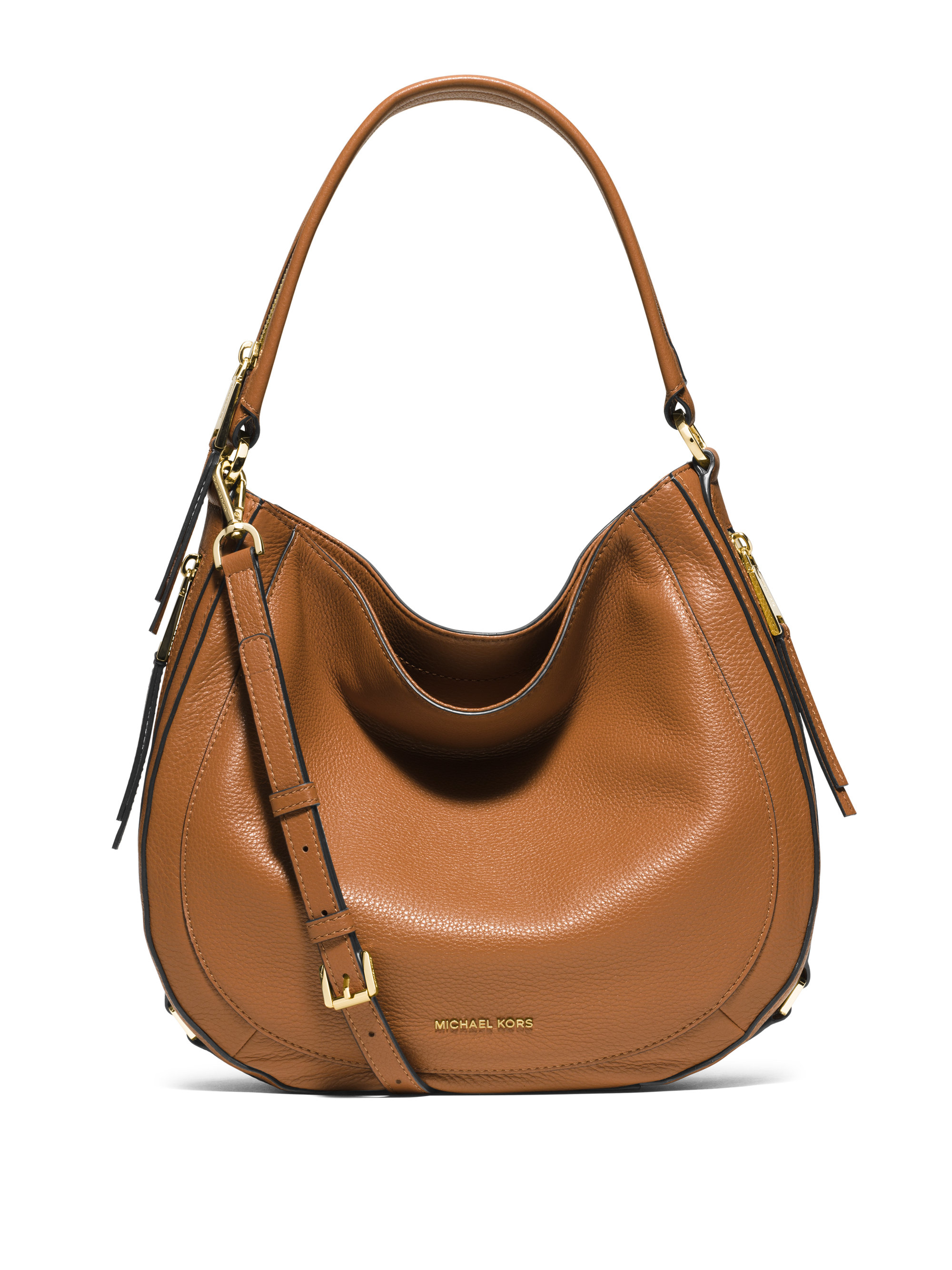 Michael michael kors Julia Medium Leather Hobo Bag in Brown | Lyst