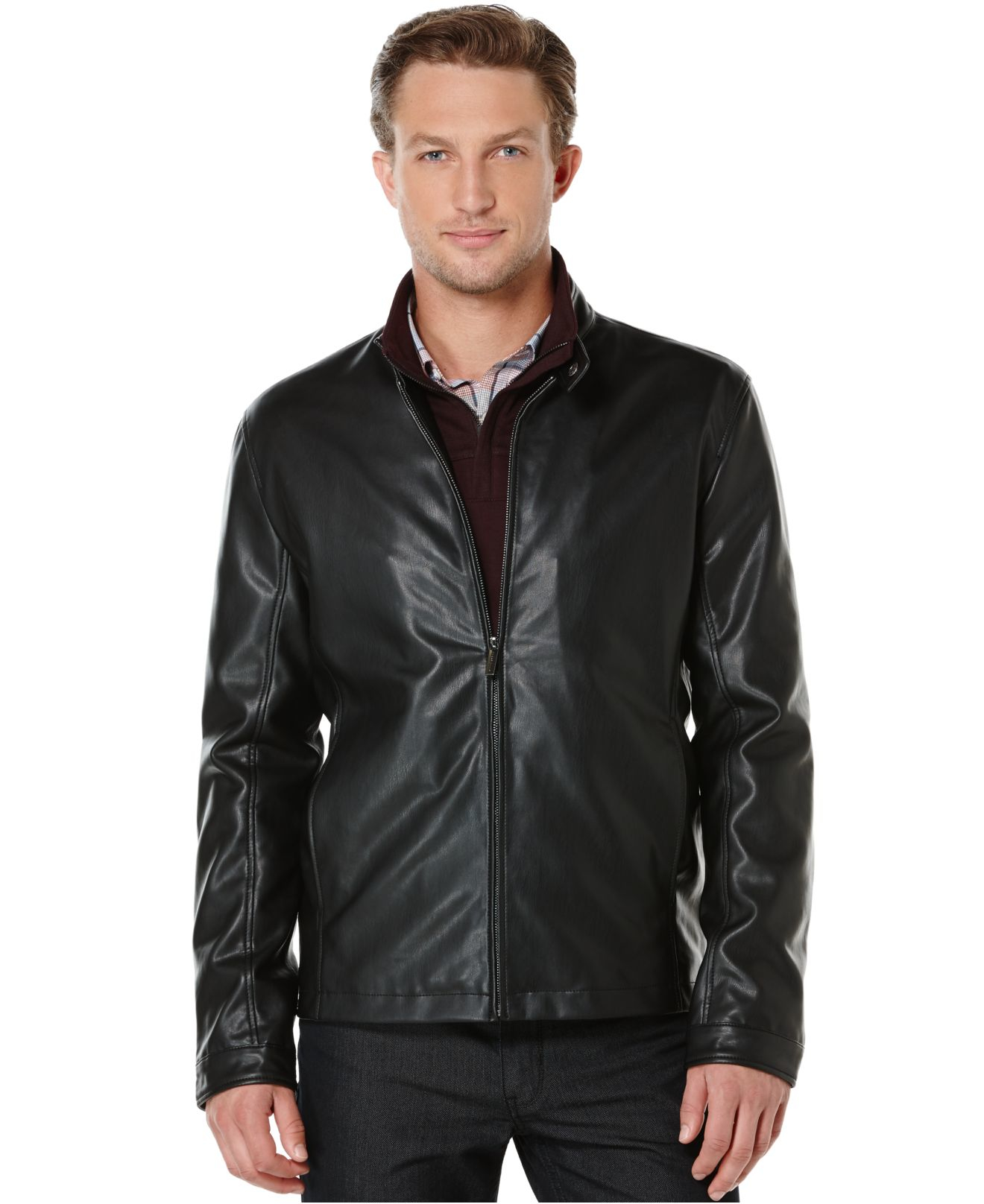 Perry ellis Faux-leather Bomber Jacket in Brown for Men | Lyst