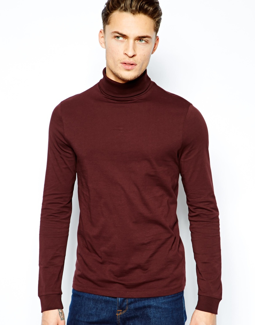 Asos Long Sleeve Tshirt with Roll Neck in Brown for Men | Lyst