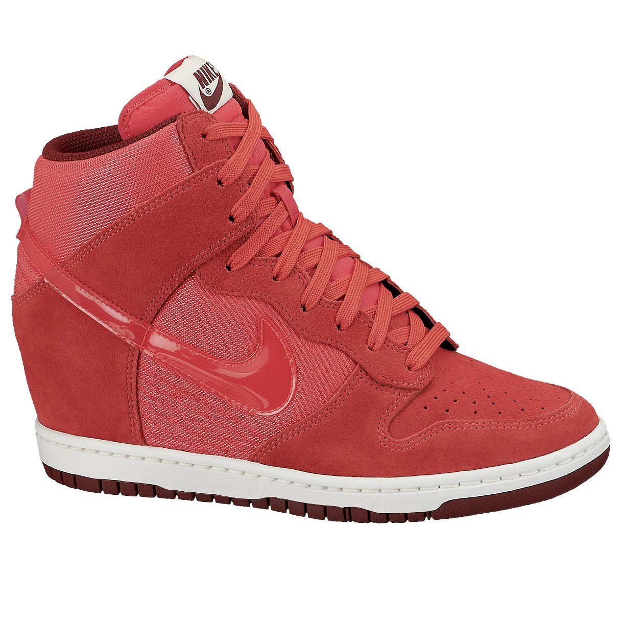 nike dunk sky hi mesh wedge trainers in red lyst. Black Bedroom Furniture Sets. Home Design Ideas