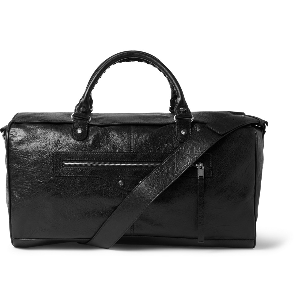 Balenciaga Medium Squash Creased Leather Holdall Bag In