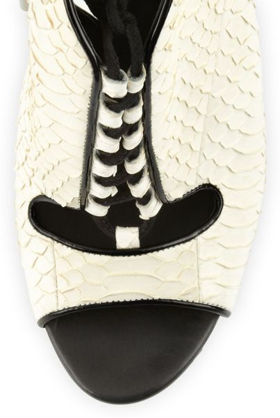 B Brian Atwood Lodosa Lace Up Snake Sandal In Black White