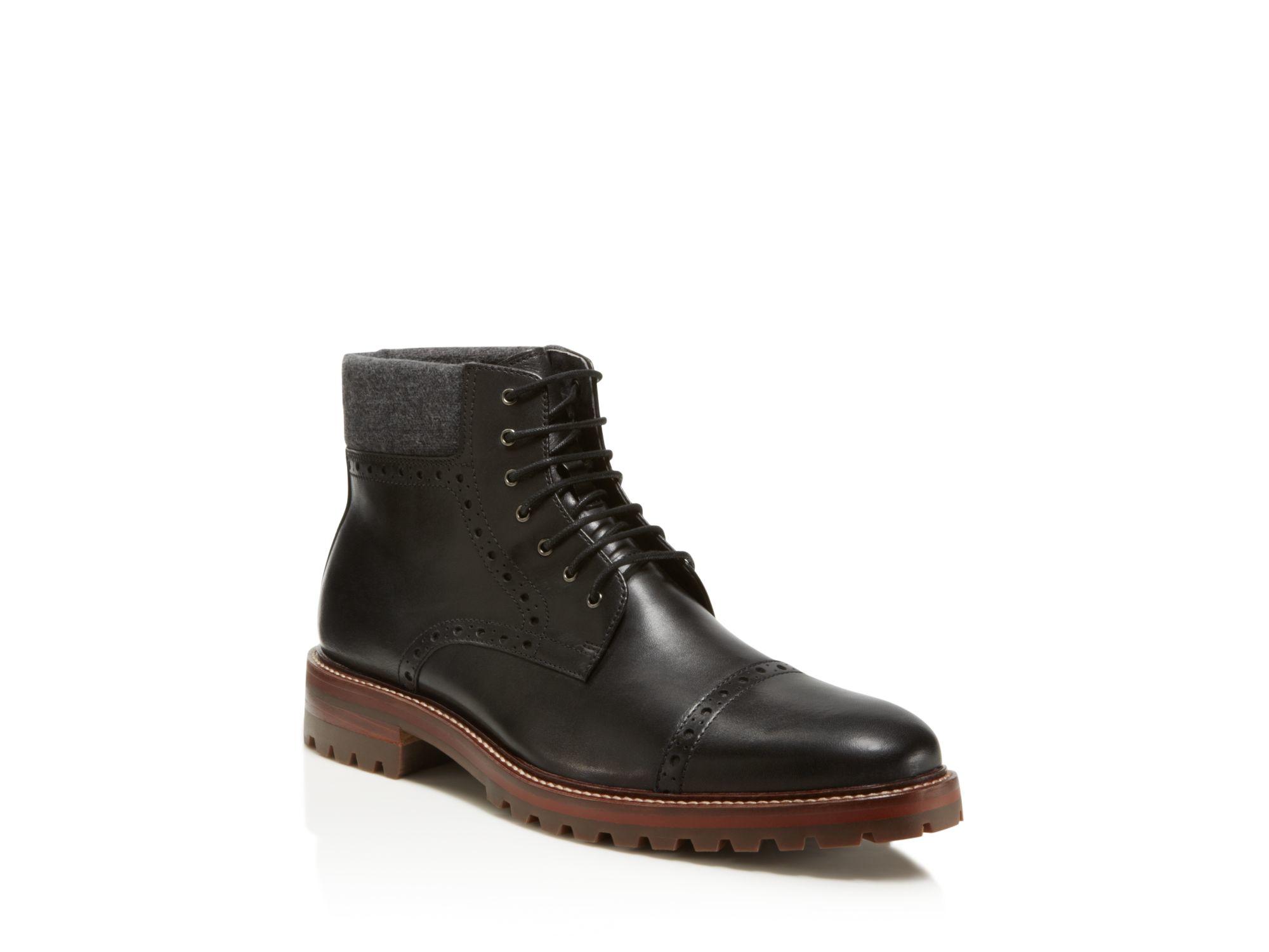 johnston murphy karnes cap toe boots in black lyst