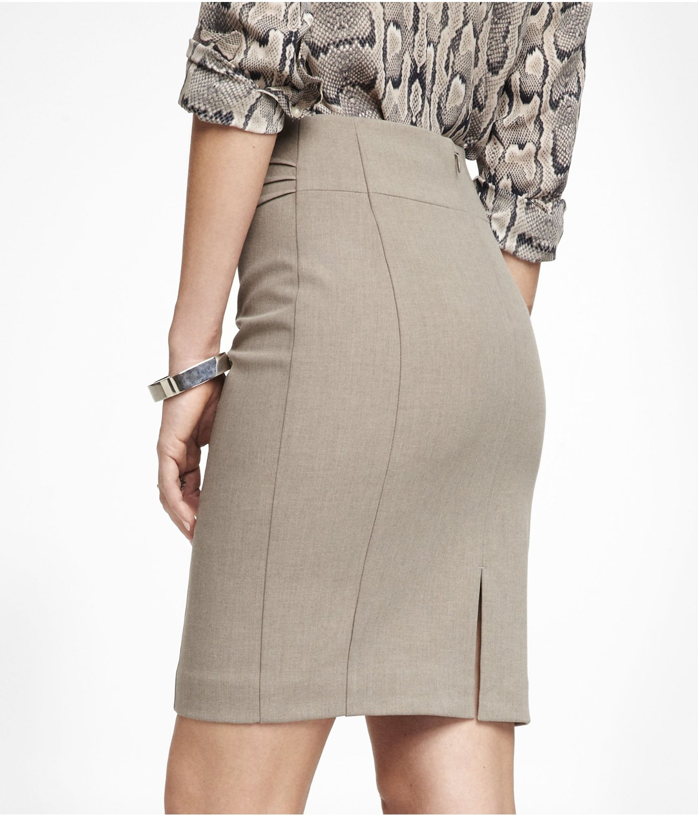 Express High Waist Pintucked Pencil Skirt in Natural | Lyst