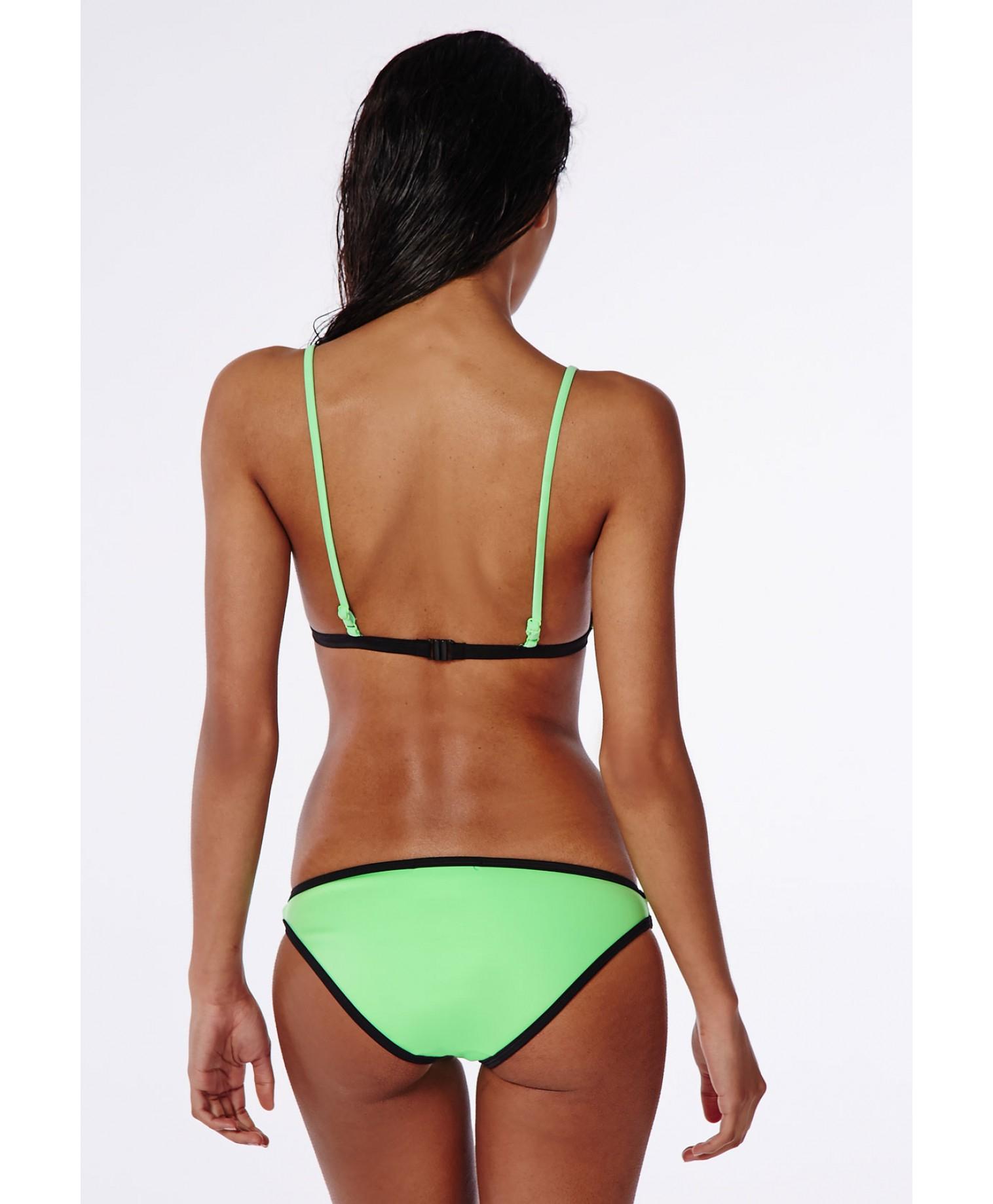 missguided triangle neoprene bikini top green in green lyst. Black Bedroom Furniture Sets. Home Design Ideas