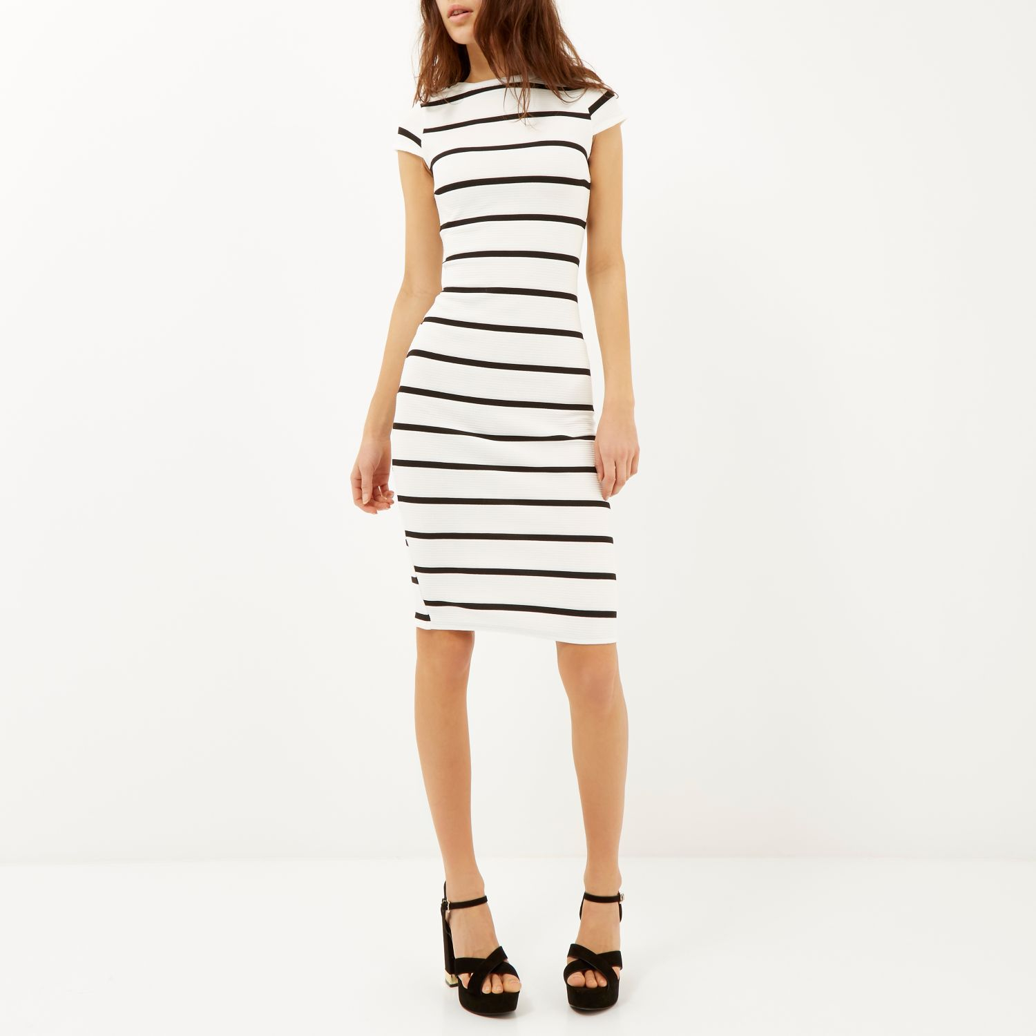 River Island Black And White Striped Midi Dress
