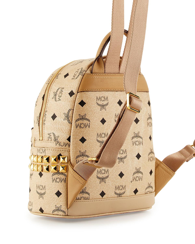 63639e540d2 Lyst - MCM Stark Side Stud Mini Backpack in Natural