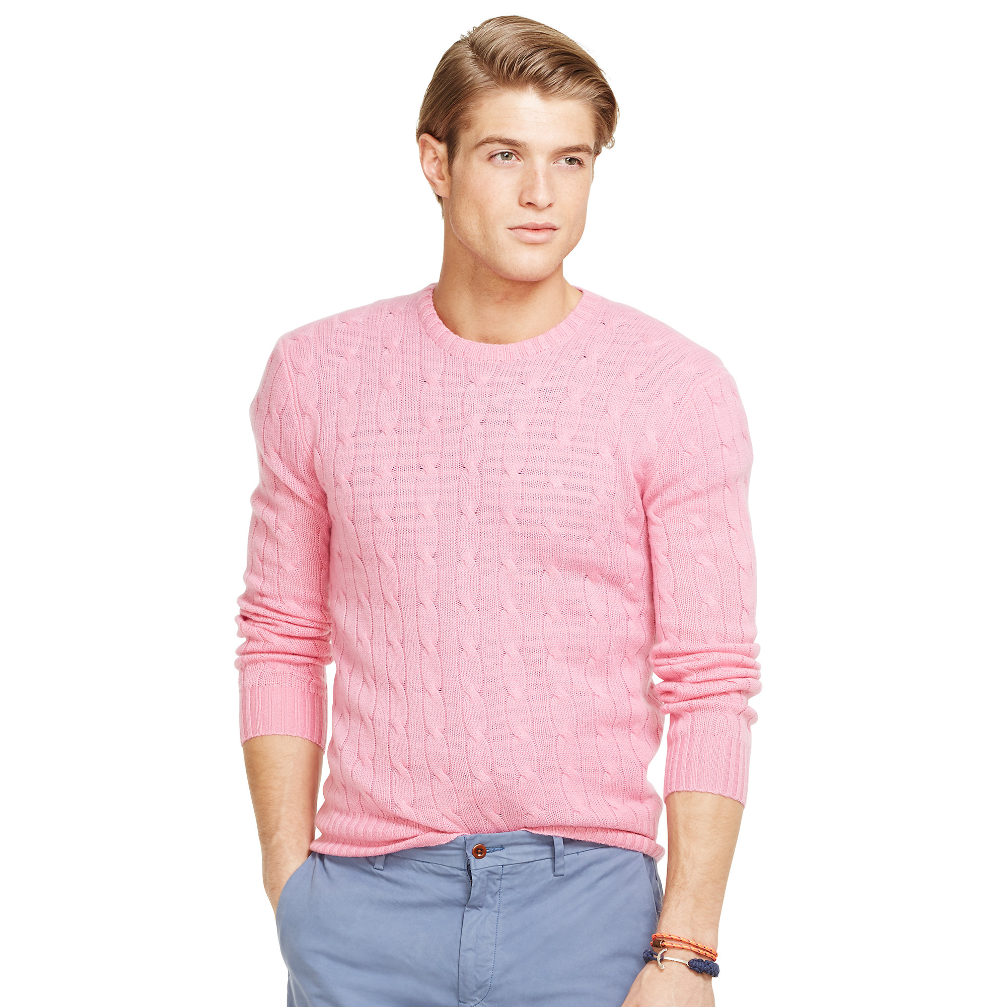 6a0b1d4c1 Polo Ralph Lauren Cable-Knit Cashmere Sweater in Pink for Men - Lyst