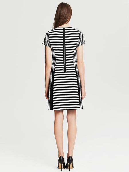 Banana Republic Mixedstripe Fit And Flare Dress In White