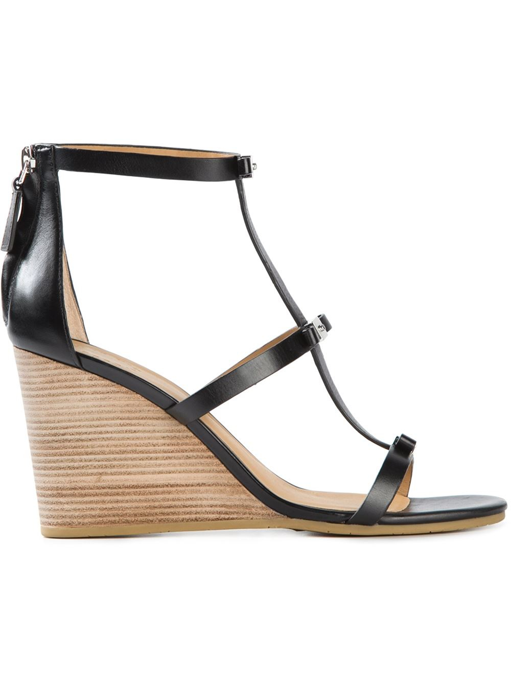 marc by marc bow detailing wedge sandals in black