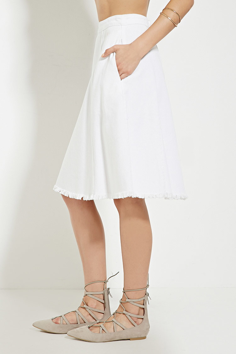 Forever 21 Frayed-hem Denim Skirt in White | Lyst